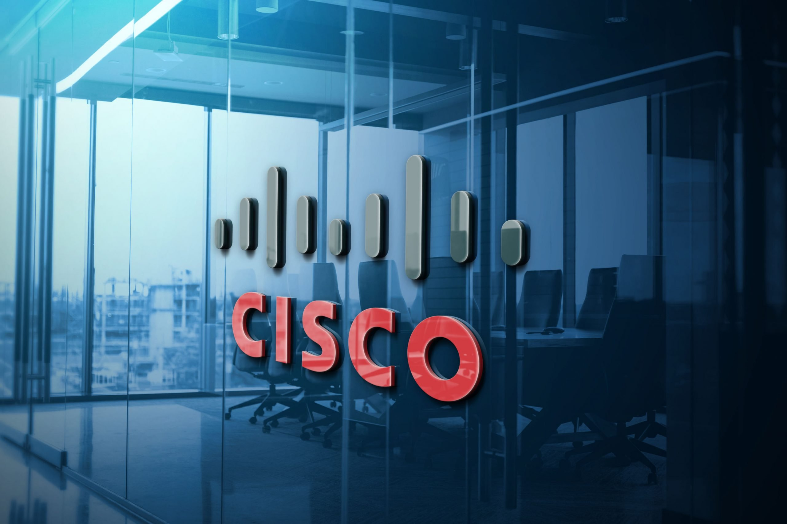 Cisco Blue Glass Logo Mockup