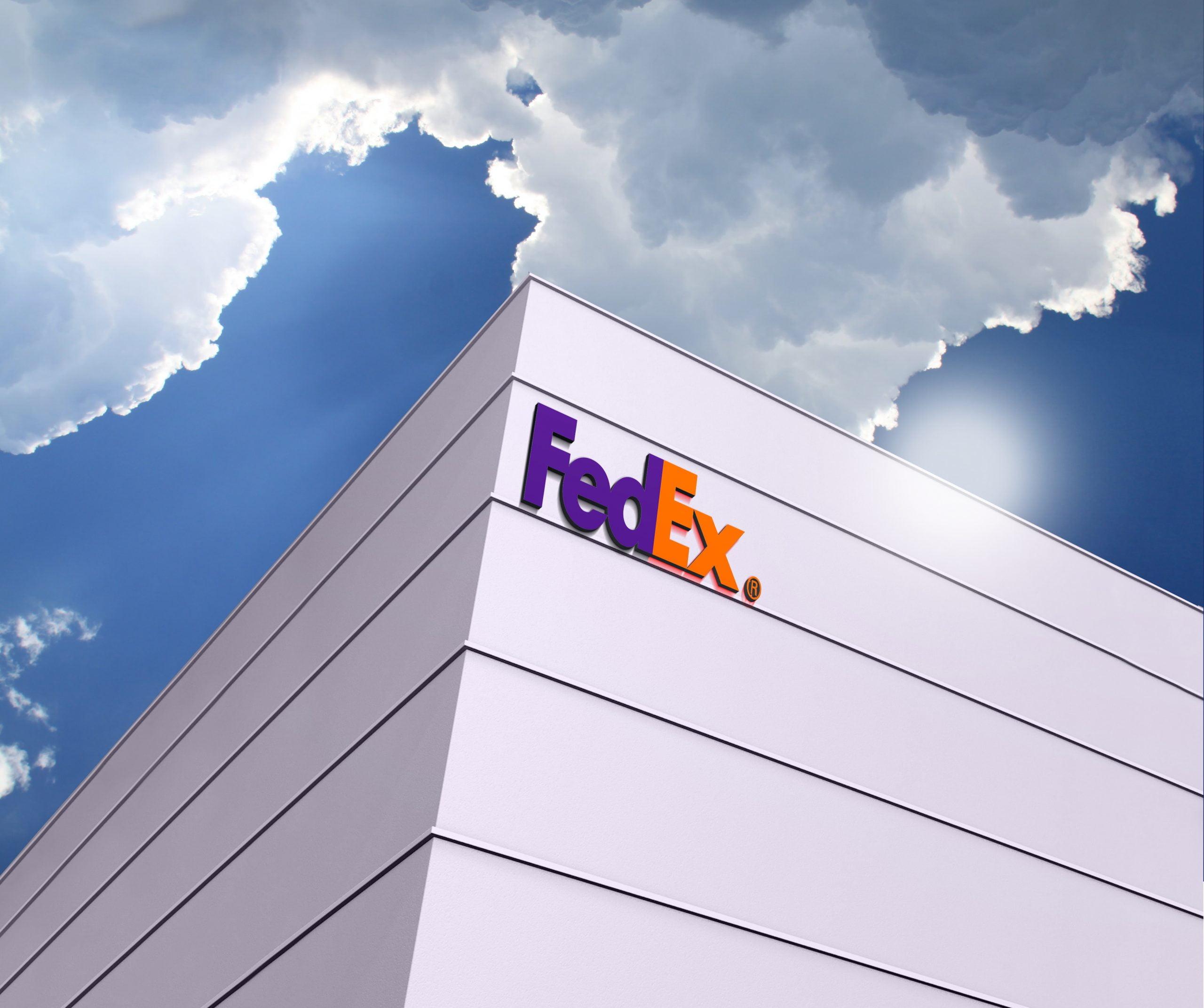 Fedex Logo Free 3D Building Logo Mockup