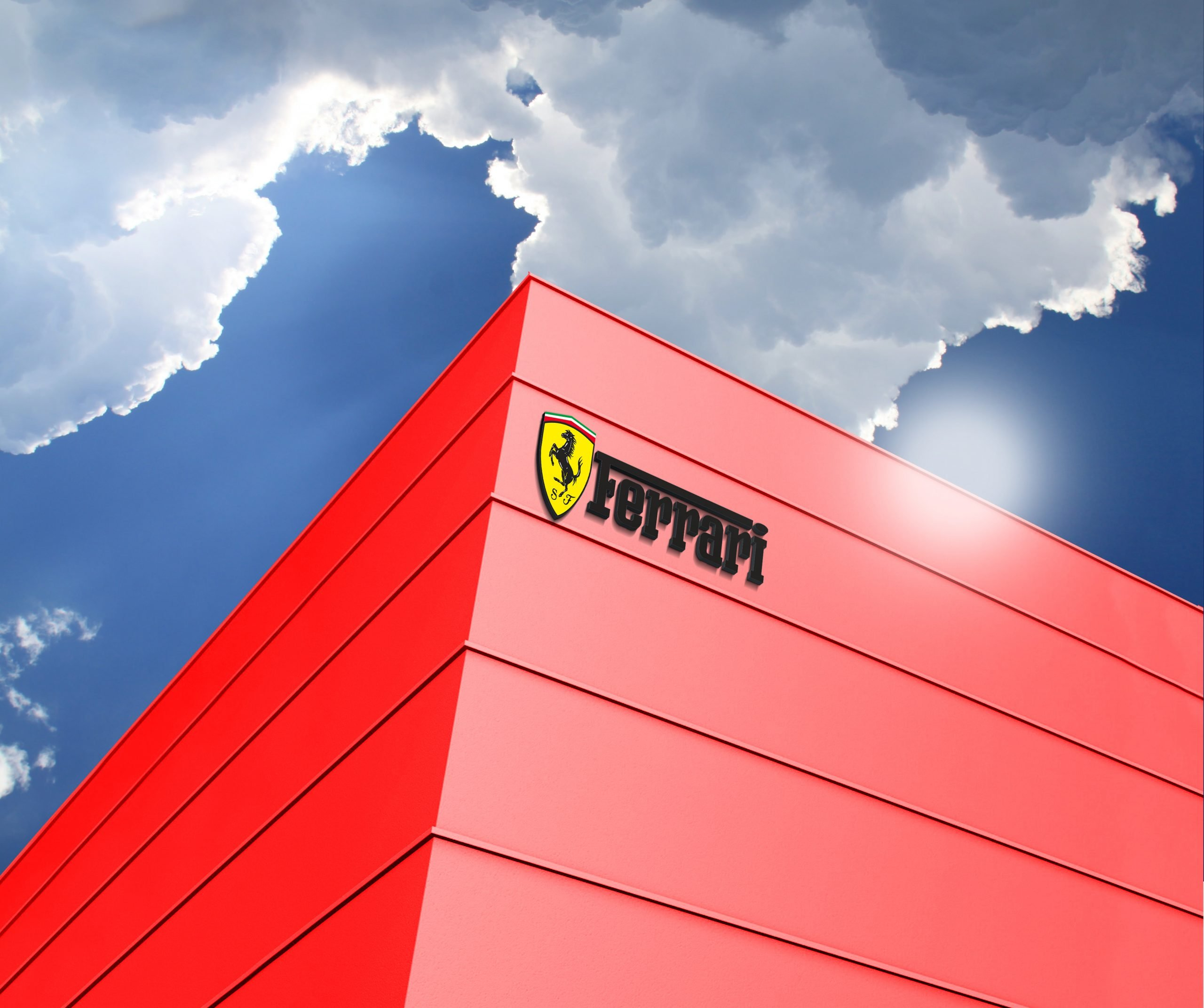 Ferrari Logo 3D Building Logo Mockup