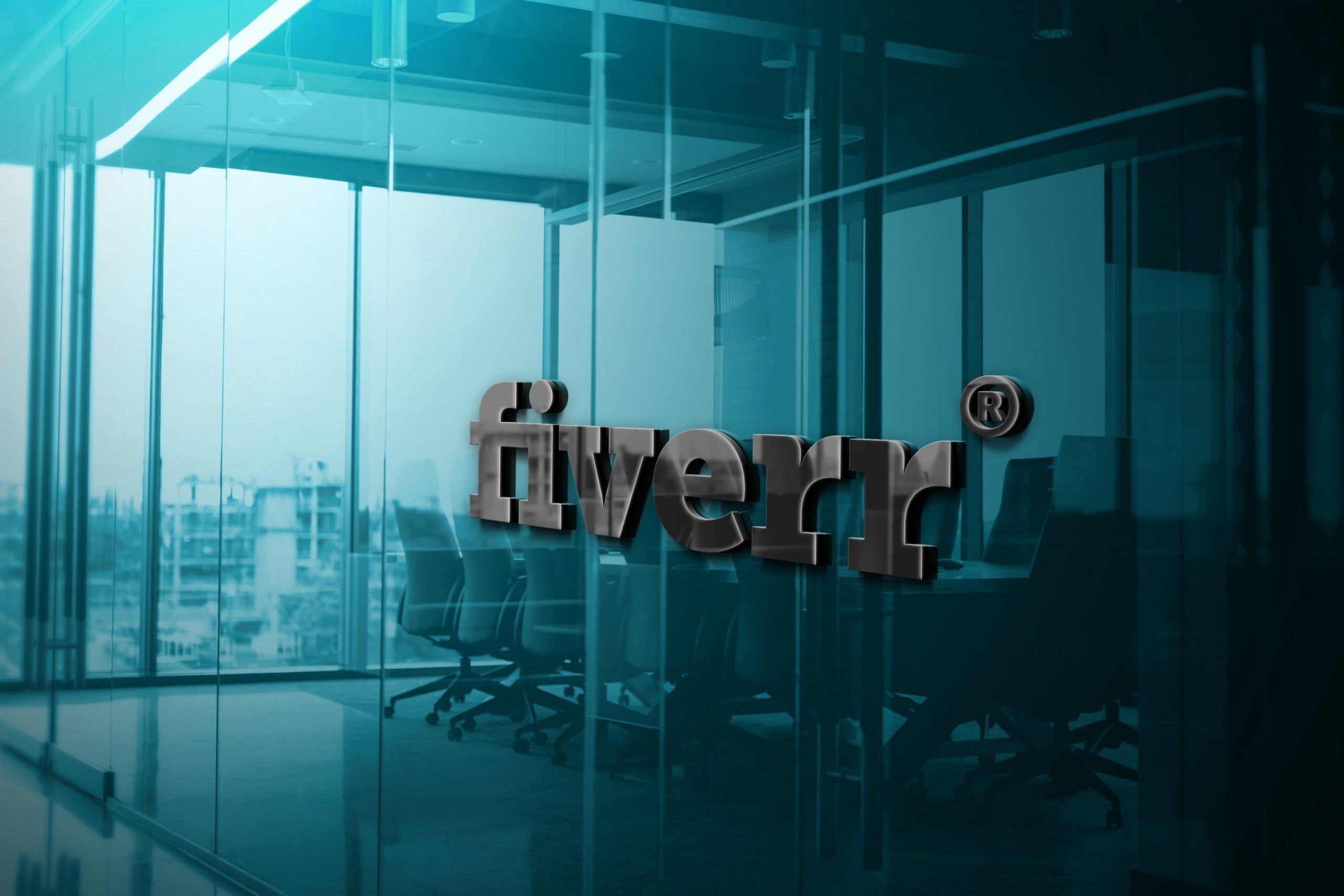 Fiverr Logo 3D Glass Logo Mockup