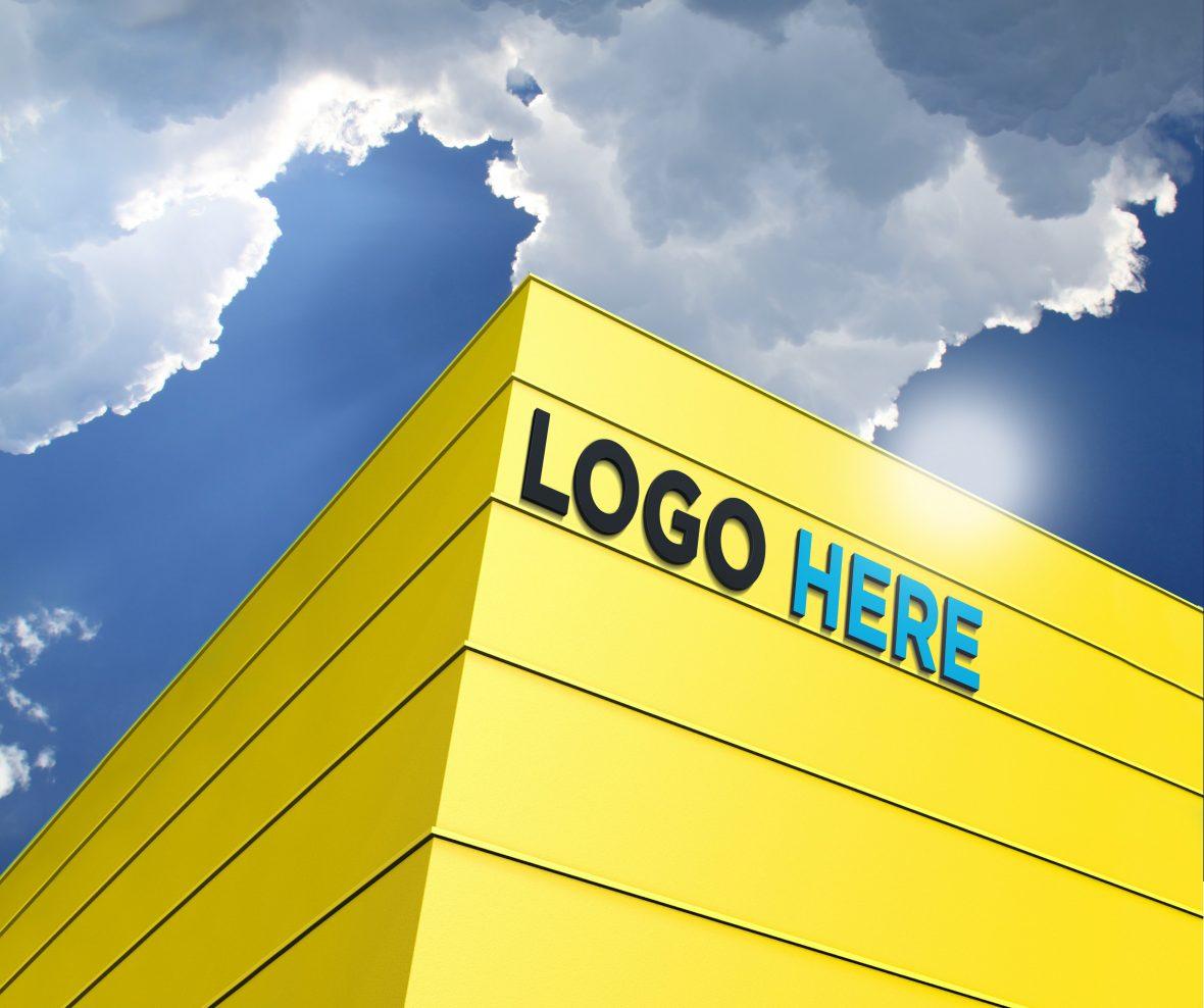 Free 3D Building Logo Mockup