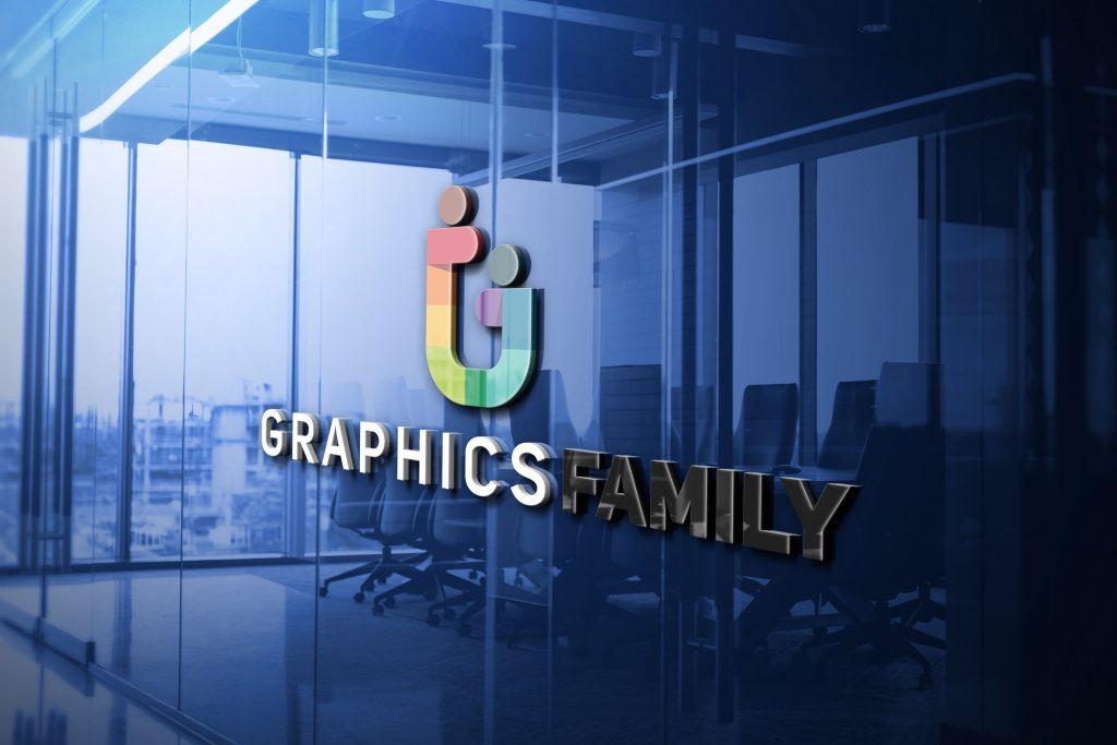 GraphicsFamily Logo 3D Glass Logo Mockup