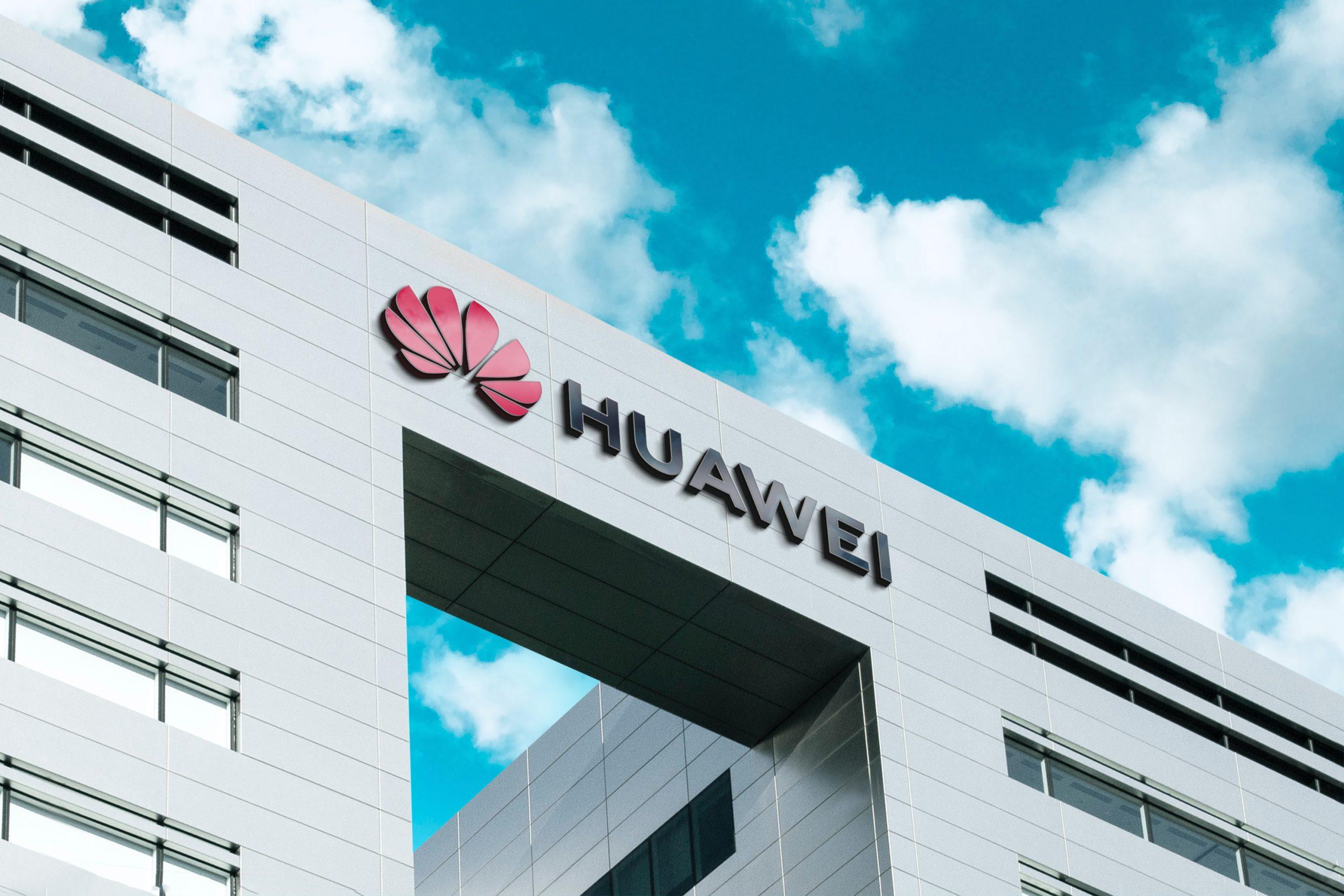 Huawei 3D Company Logo Mockup