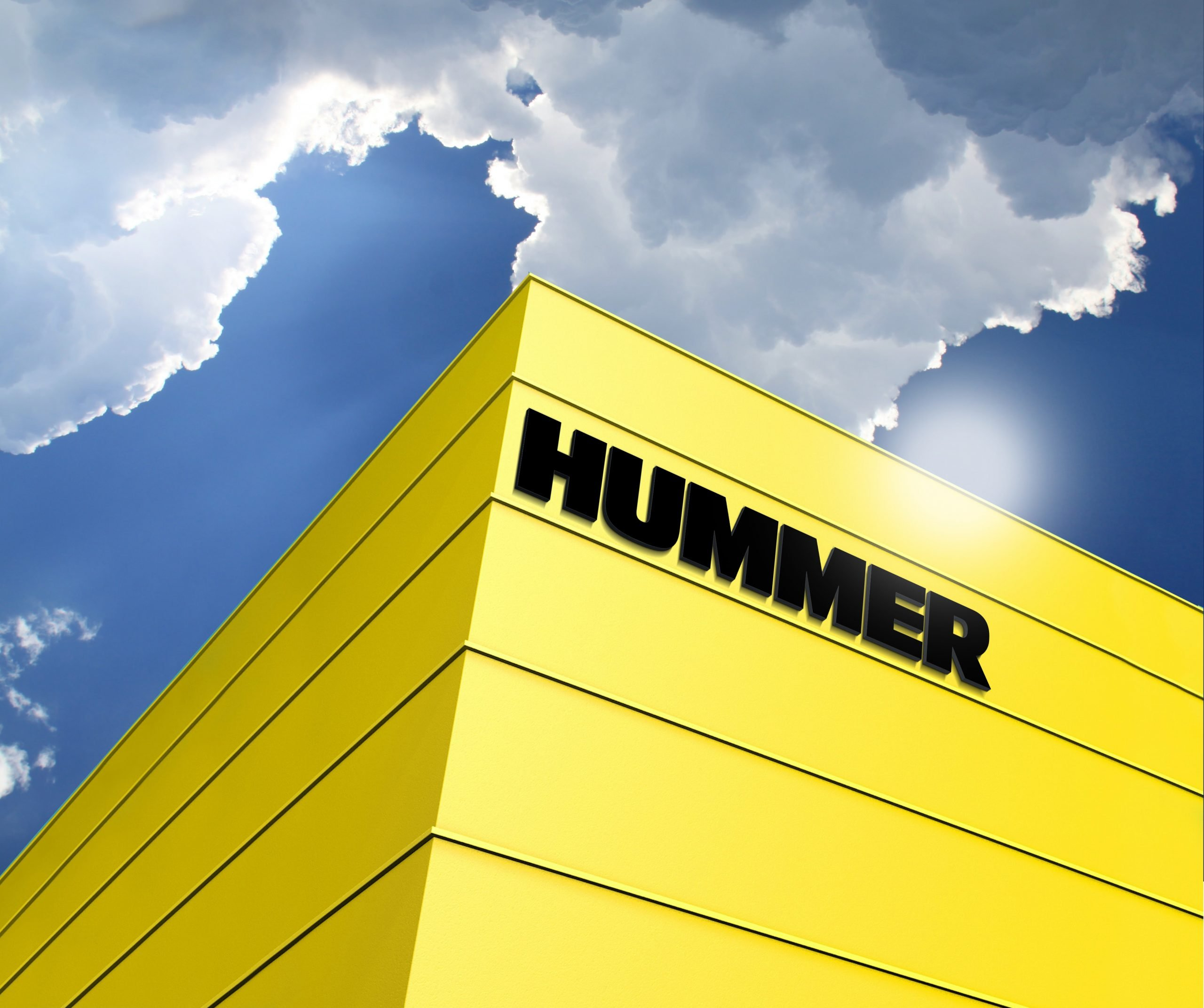 Hummer Logo 3D Building Logo Mockup