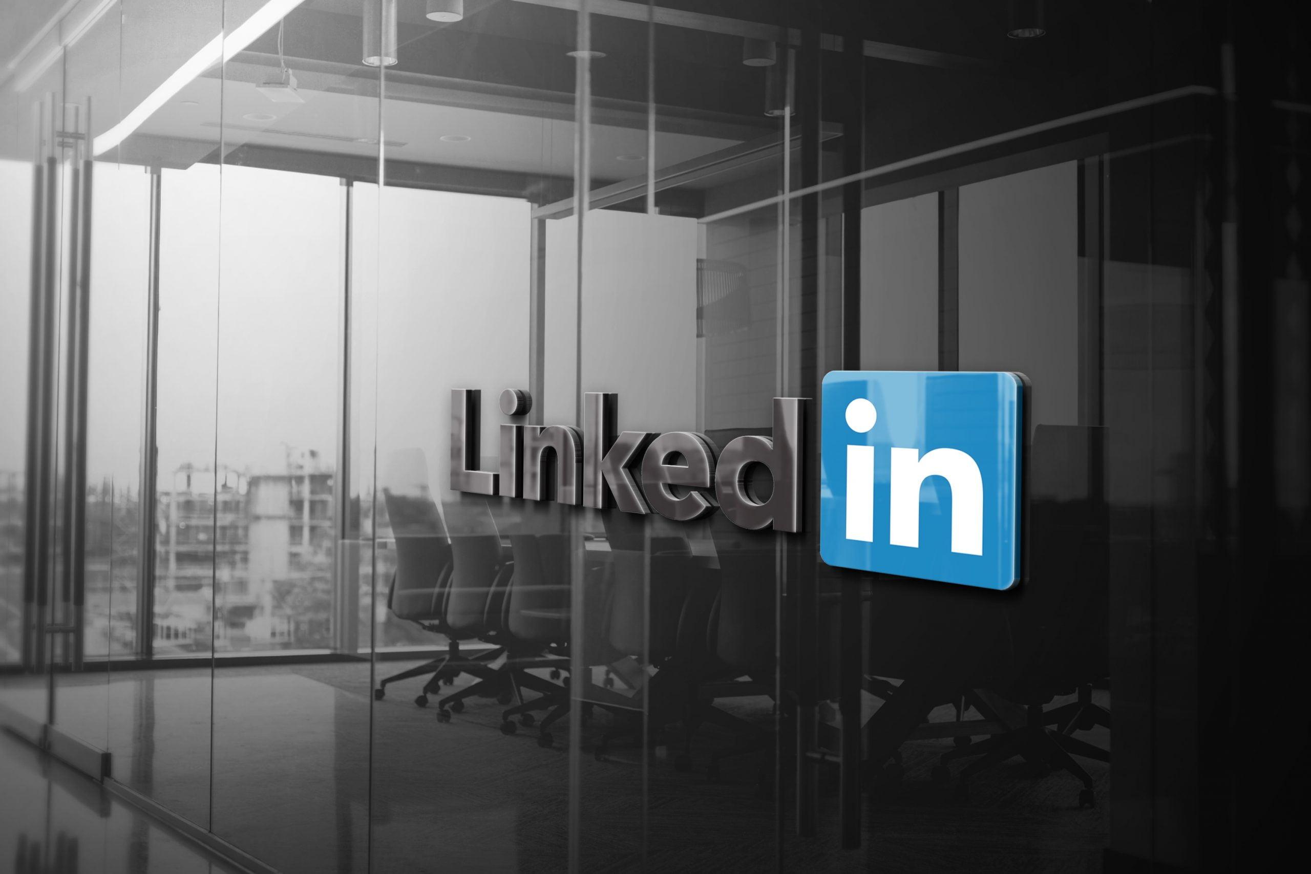 Linkedin Logo 3D Glass Logo Mockup
