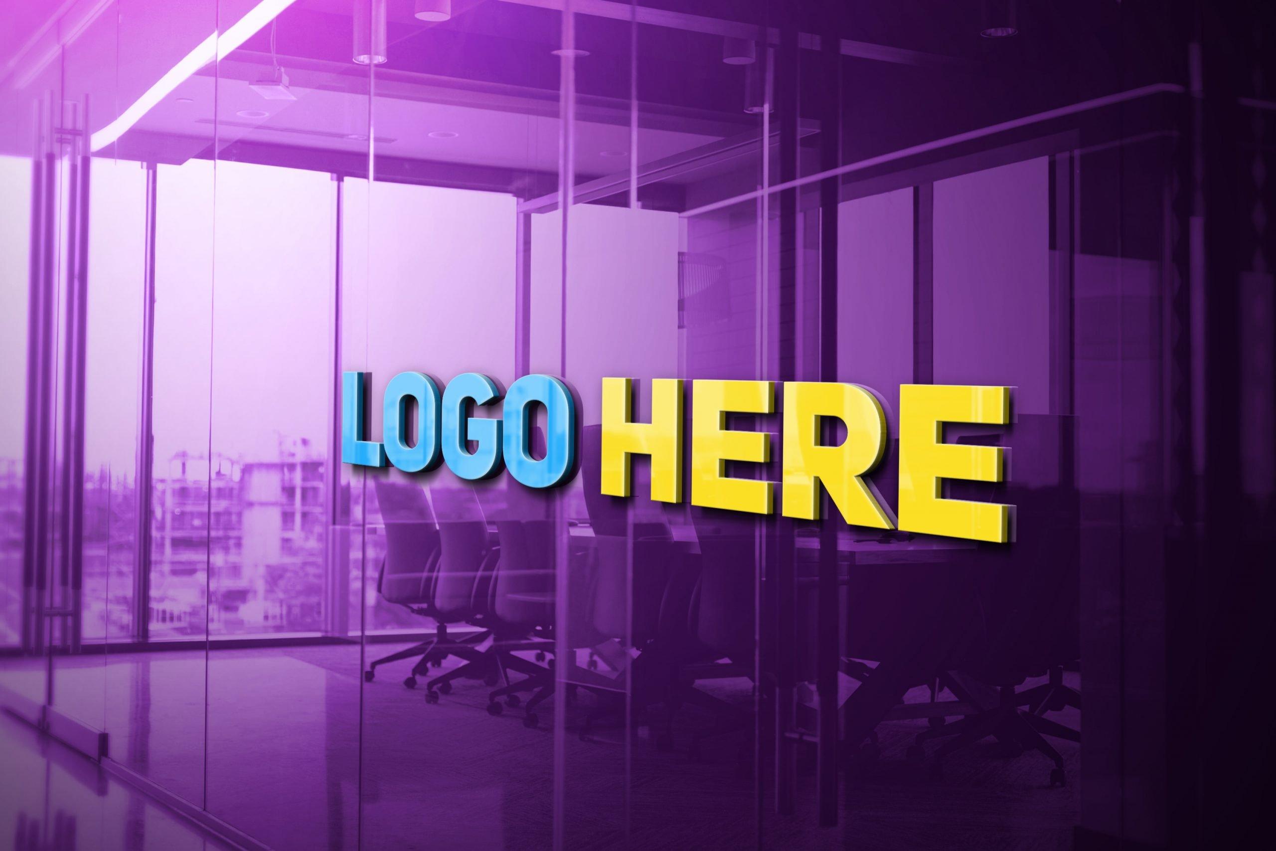 Logo Here 3D Glass Logo Mockup