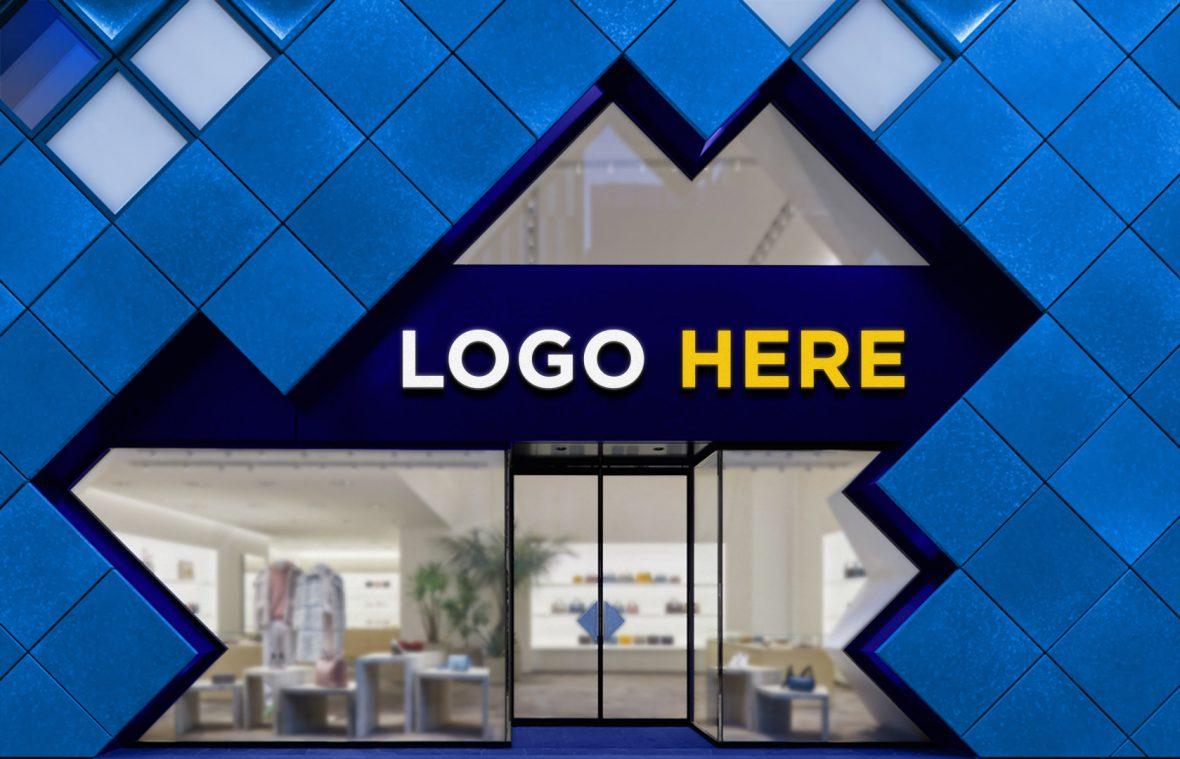 Shopfront Logo Mockup by GraphicsFamily.com