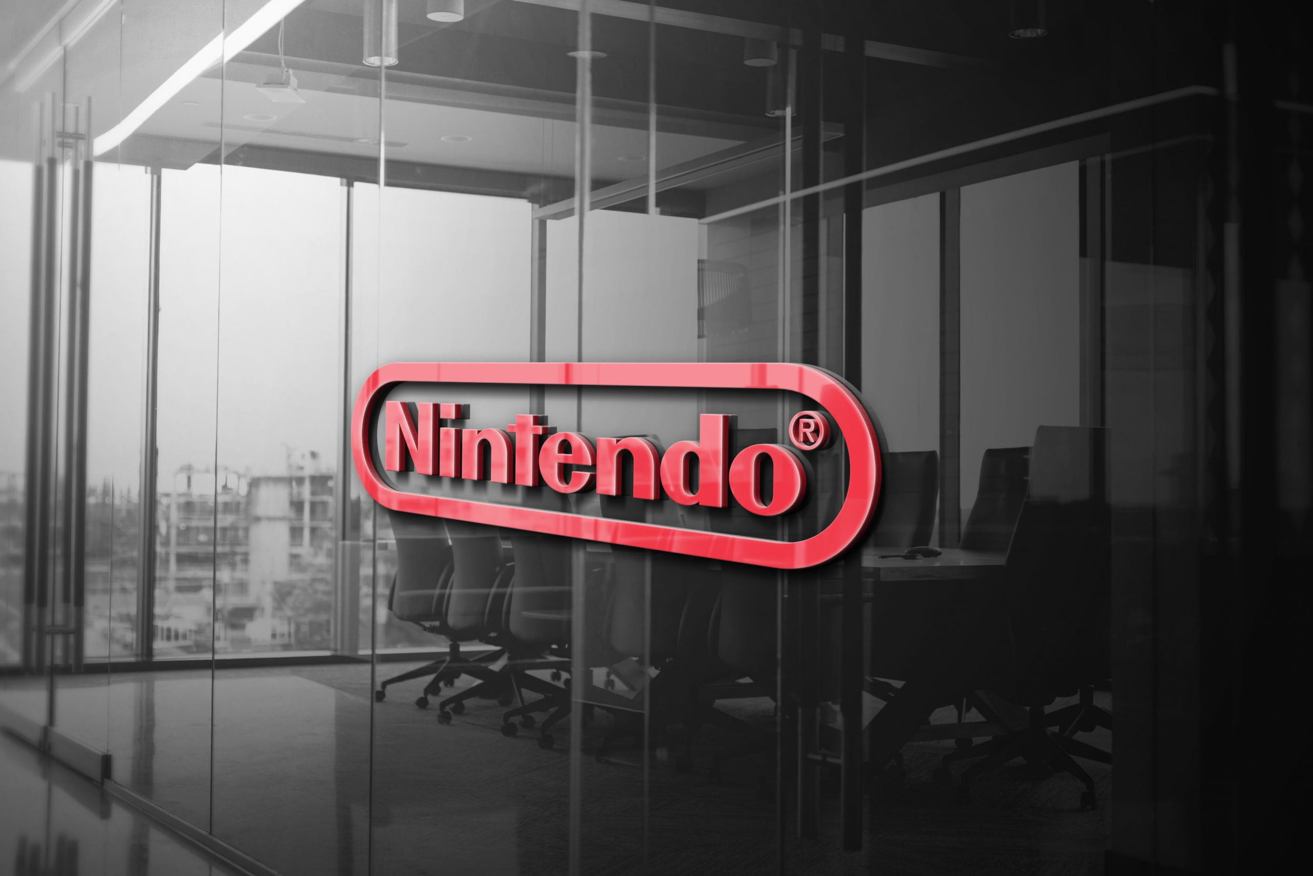 Nintendo 3D Glass Logo Mockup