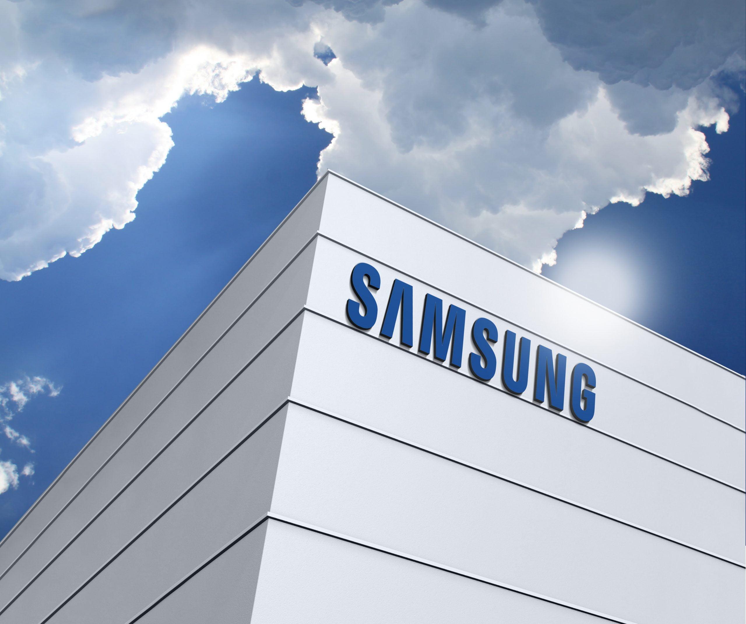 Samsung Logo 3D Building Logo Mockup