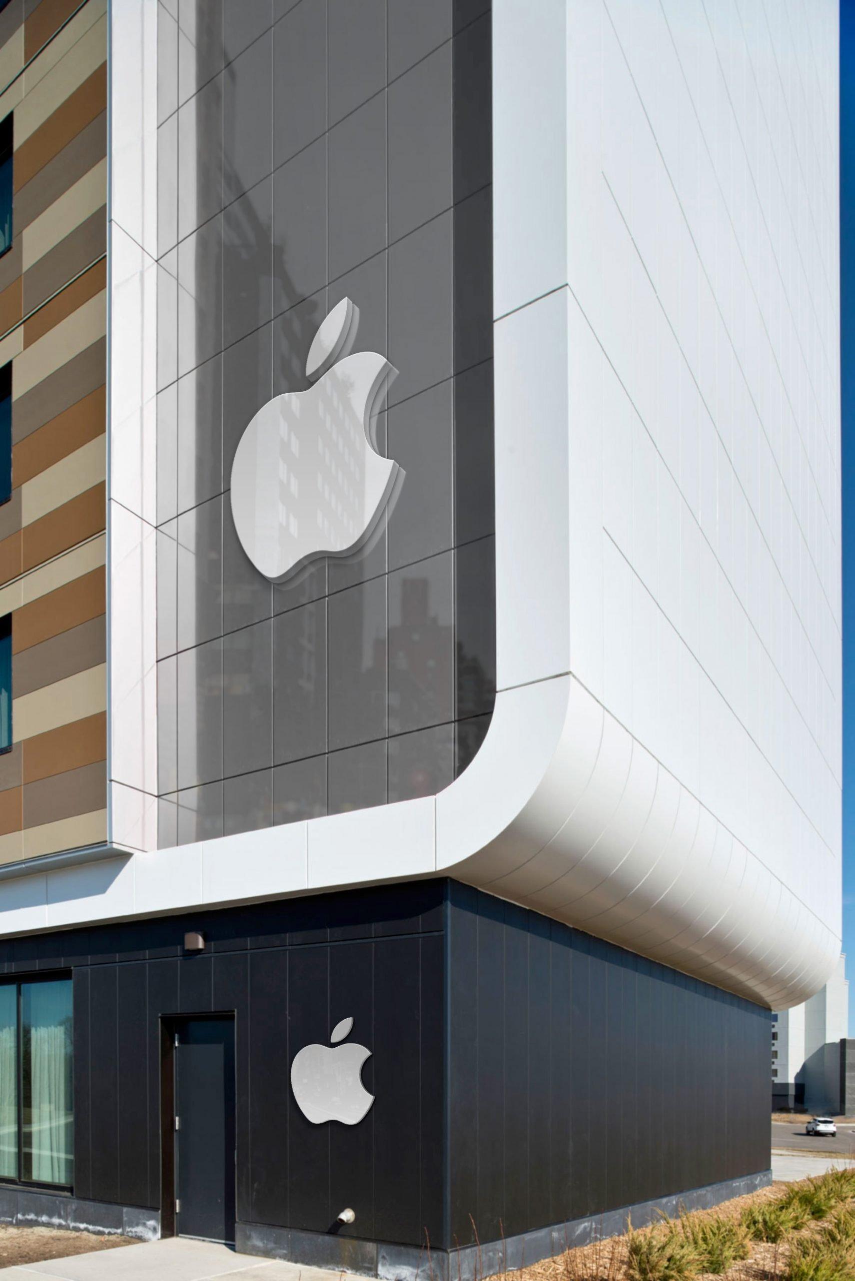 Apple Free Portrait Building Logo Mockup