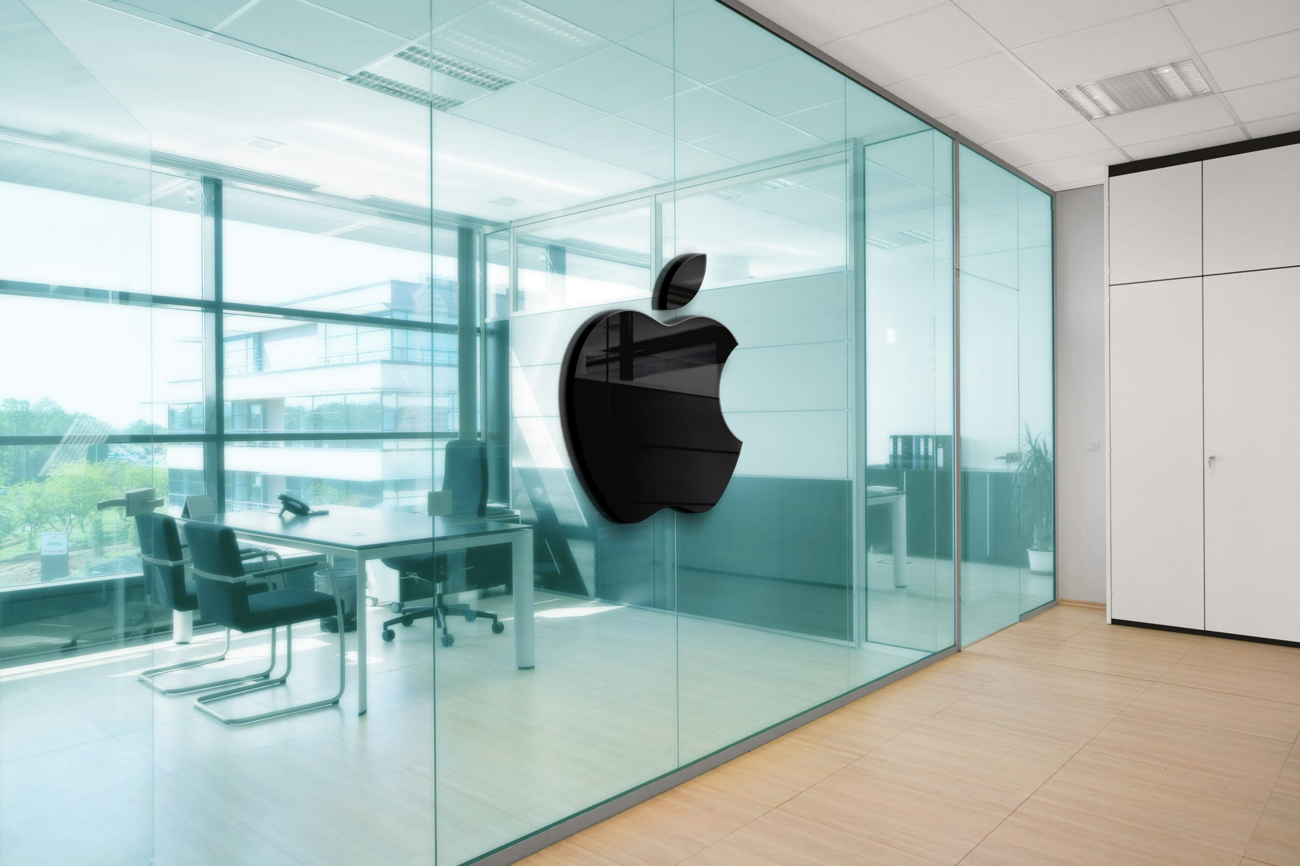 Apple Office Space Window Logo Mockup
