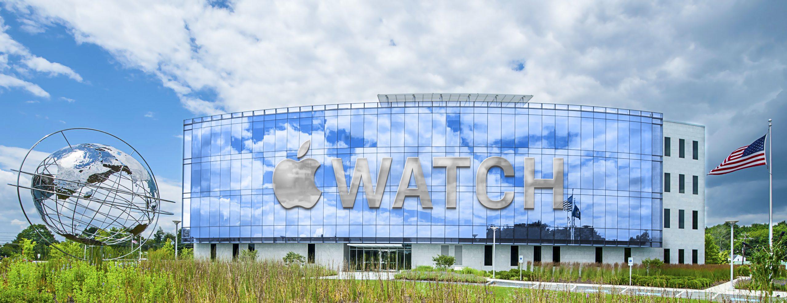 Apple Watch Logo Wide Realistic Building Logo Mockup