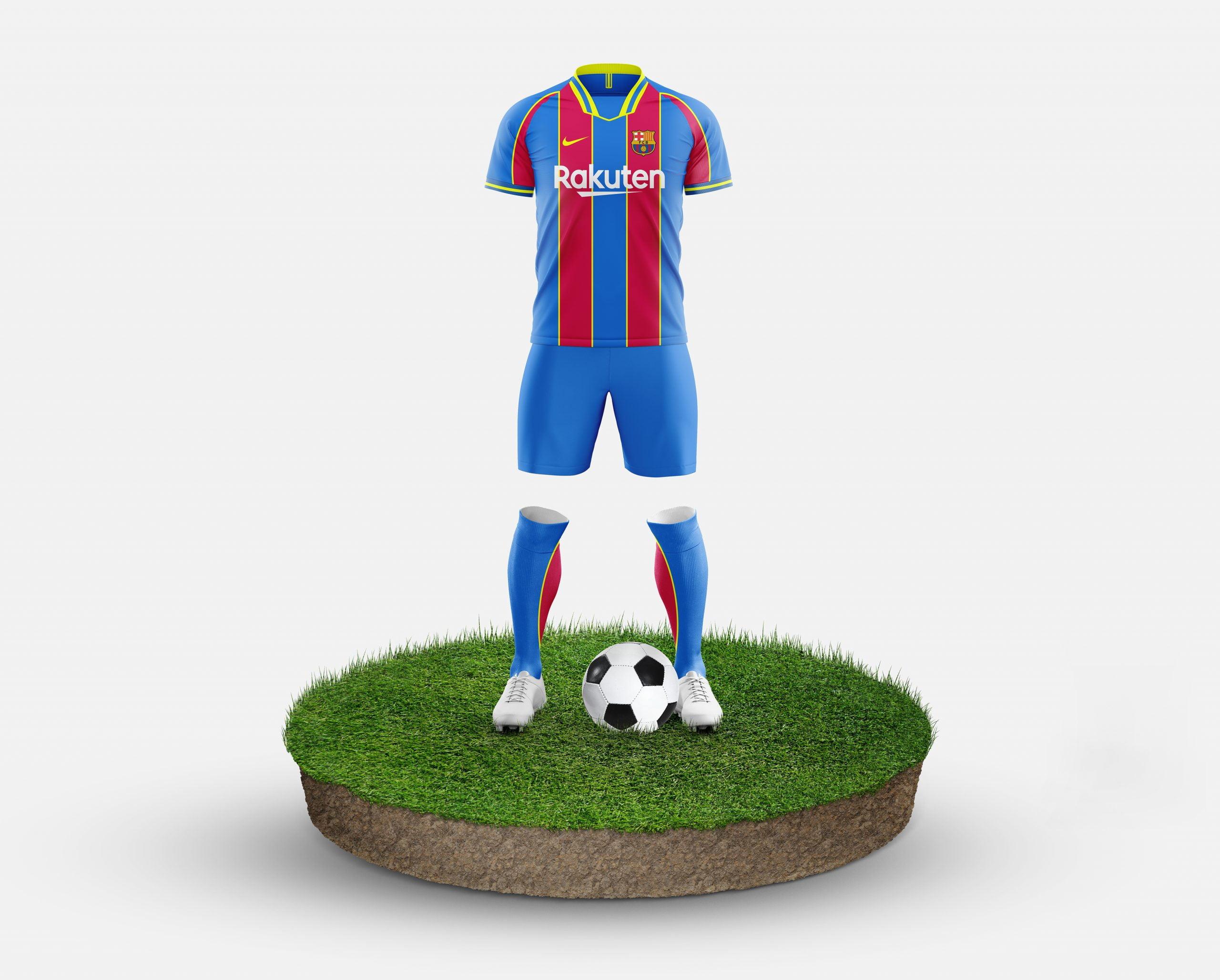 Barcelona Free Football Kit Mockup Template