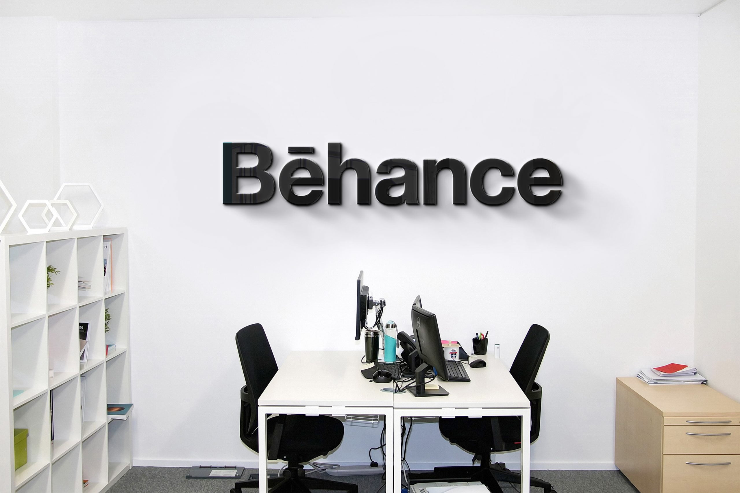 Behance Company Office Wall Logo Mock-up by GraphicsFamily