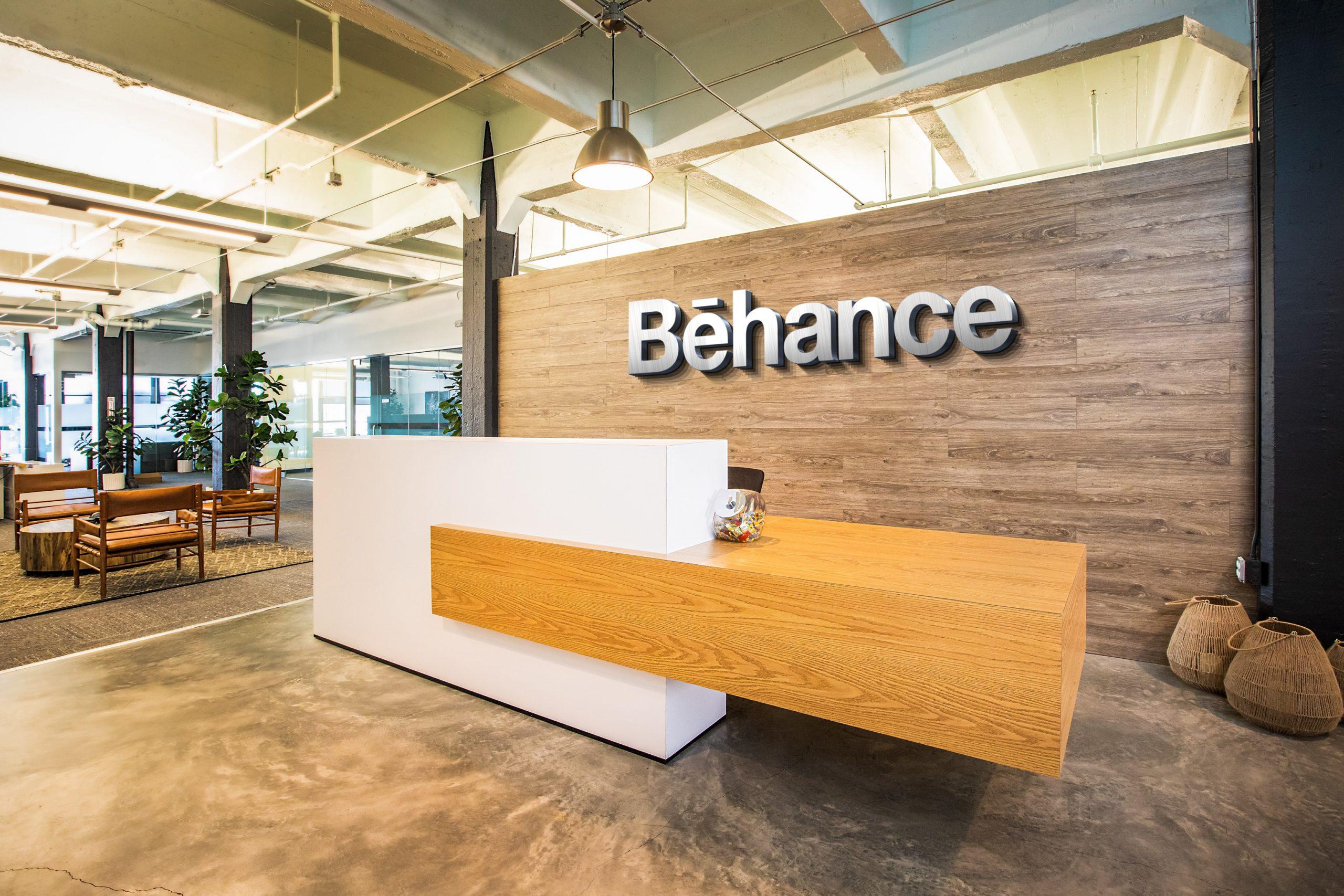 Behance-Logo-Free Reception Desk Mockup