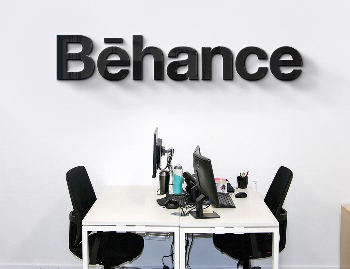 Behance Logo IT Company Office Wall Logo Mock-up by GraphicsFamily