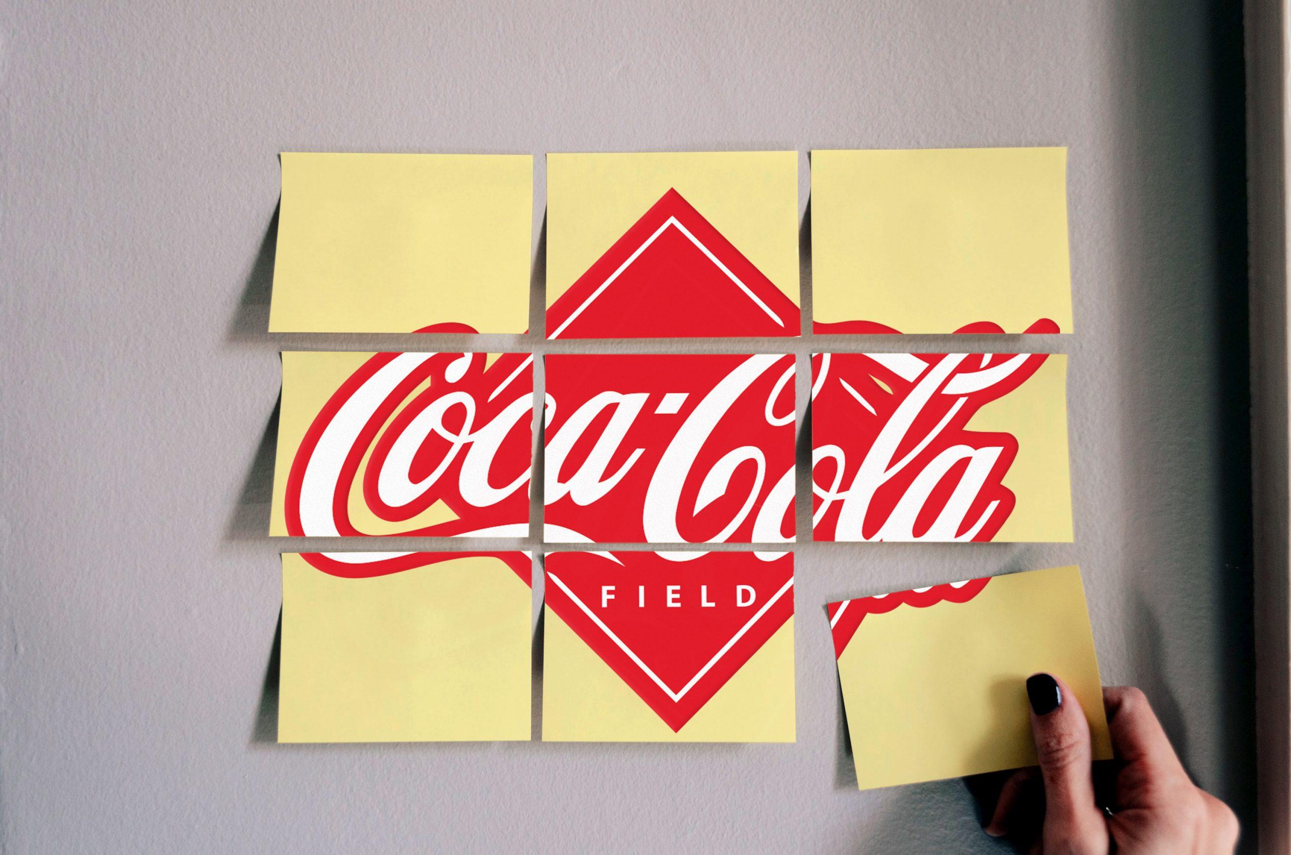 Coca Cola Sticky Notes Logo Mockup