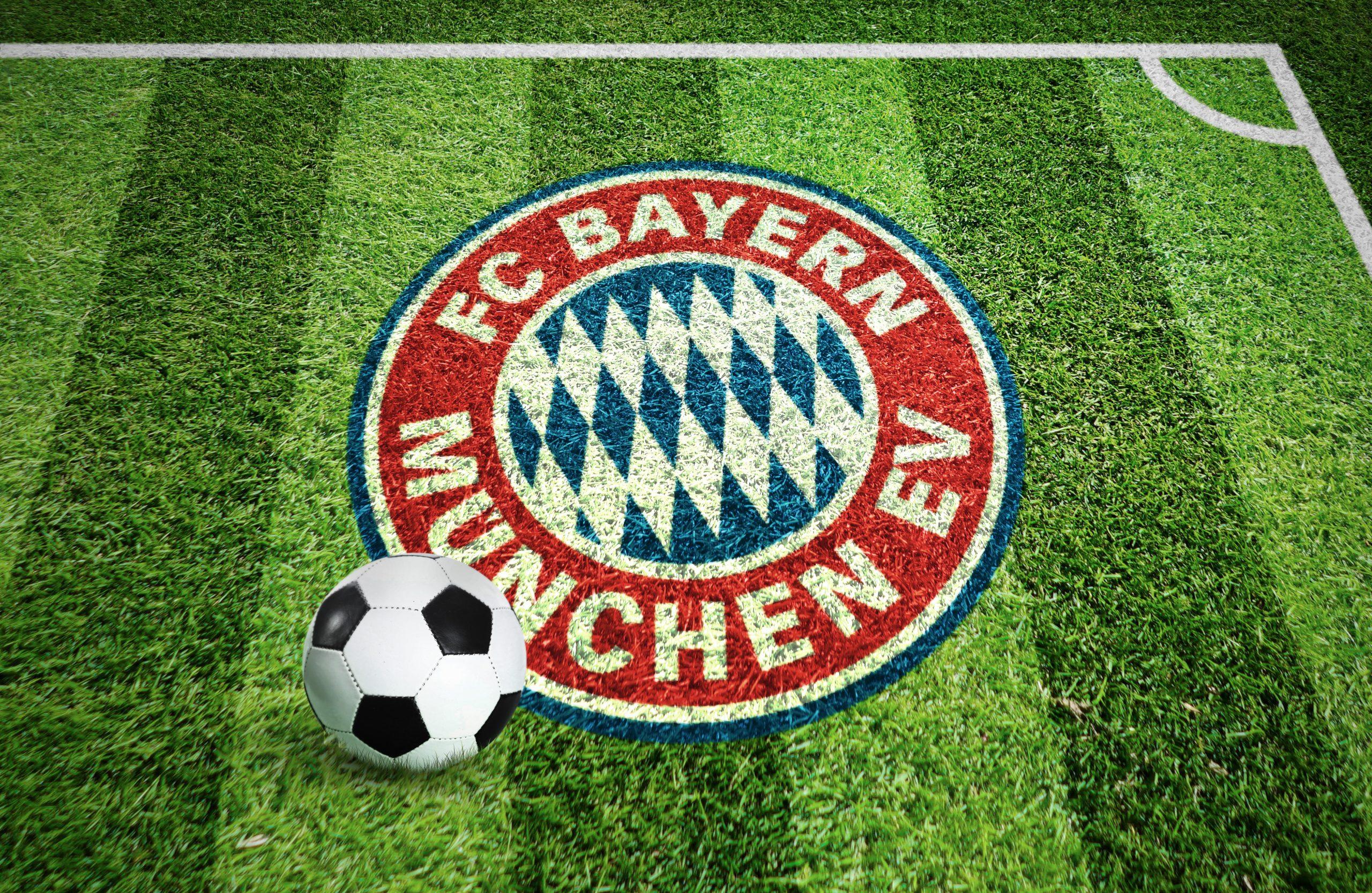 FC Bayern Stadium Grass Ground Logo Mockup