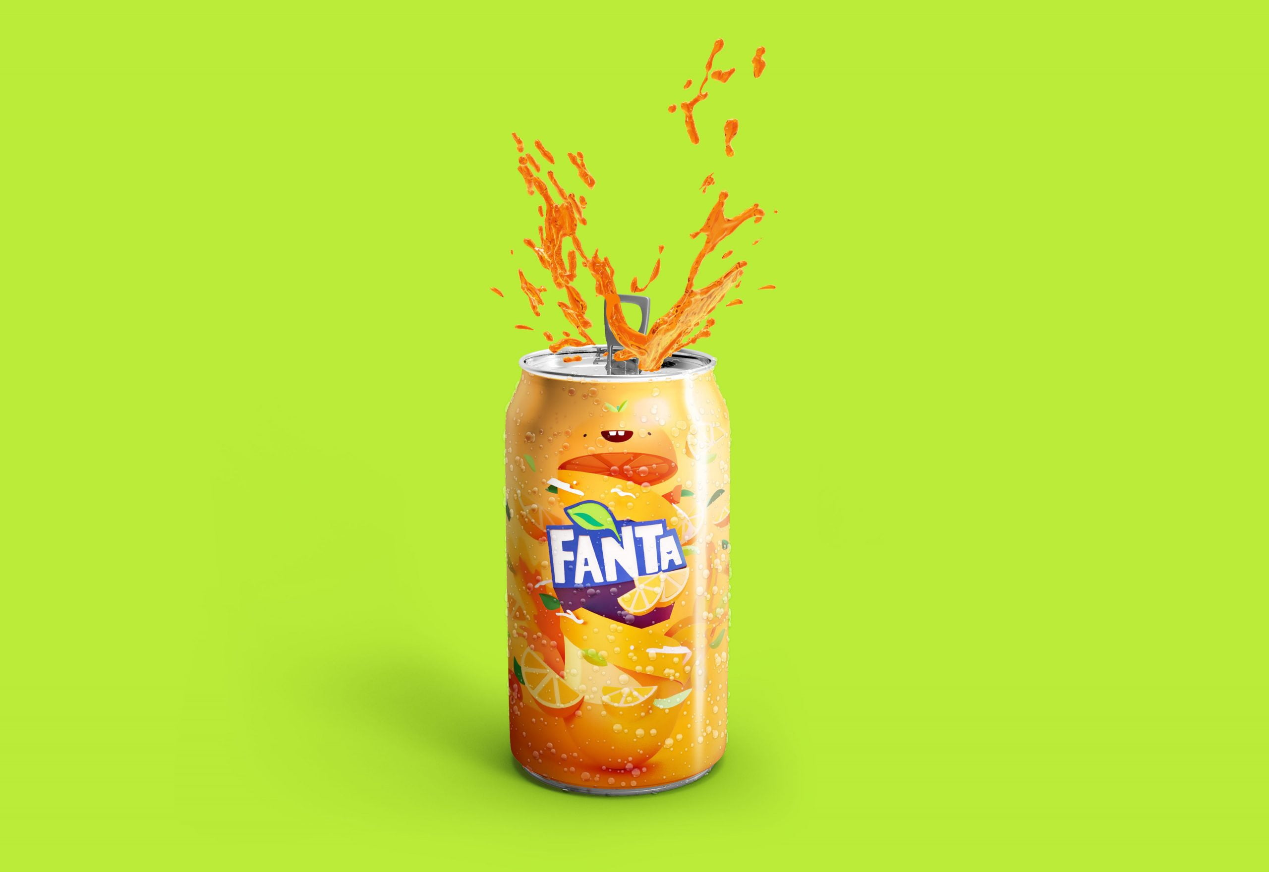 Fanta Logo Free Soda Can Mockup
