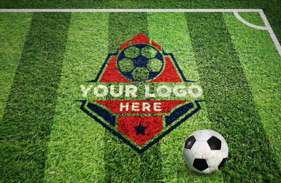 Free Football Field Grass Photoshop Logo Mockup