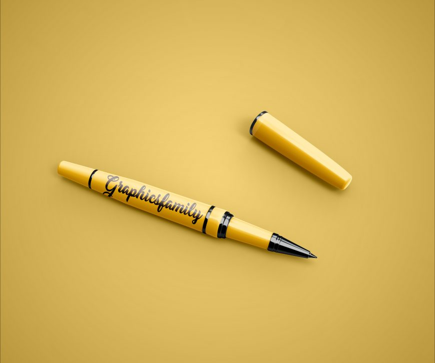 Free Pen Photoshop Mockup by GraphicsFamily