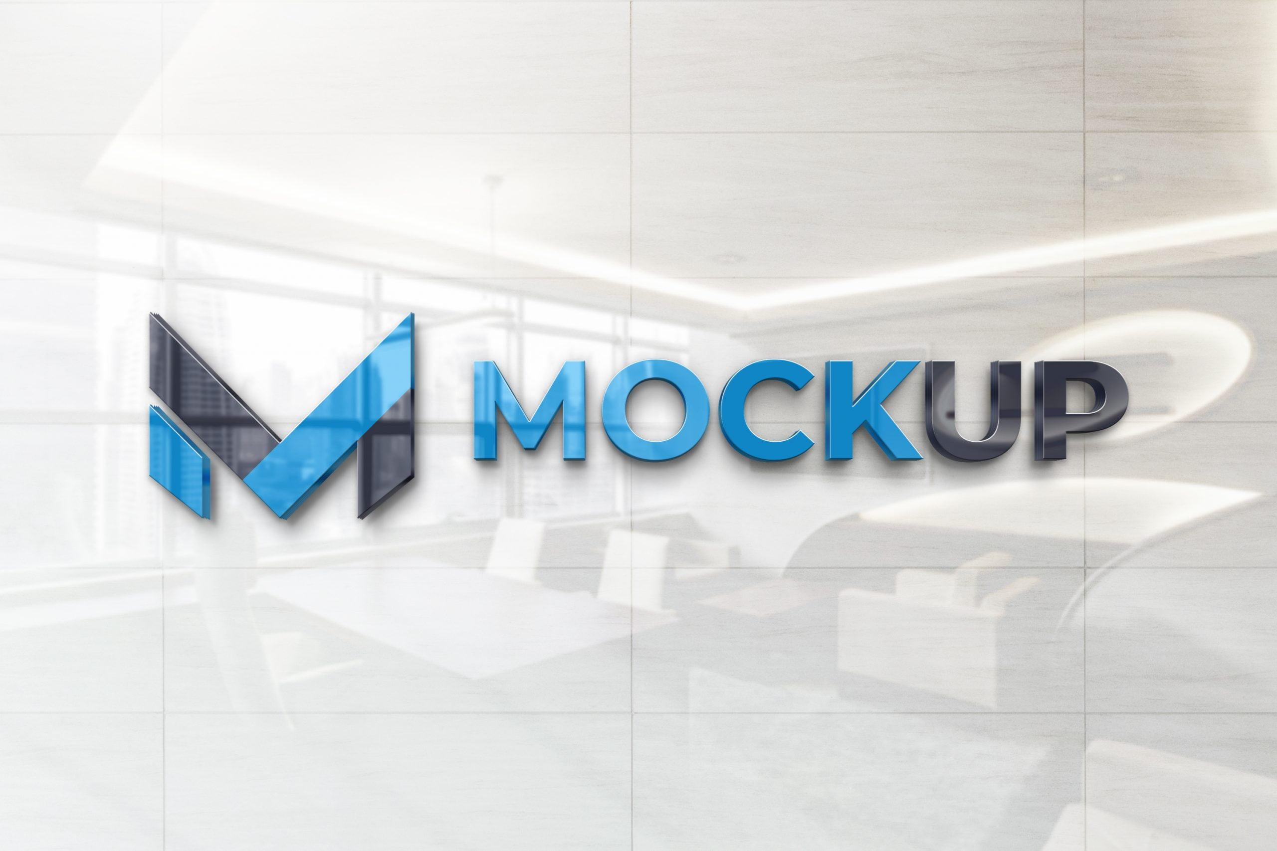 Glossy Wall Logo Mockup - By Designer Hamza
