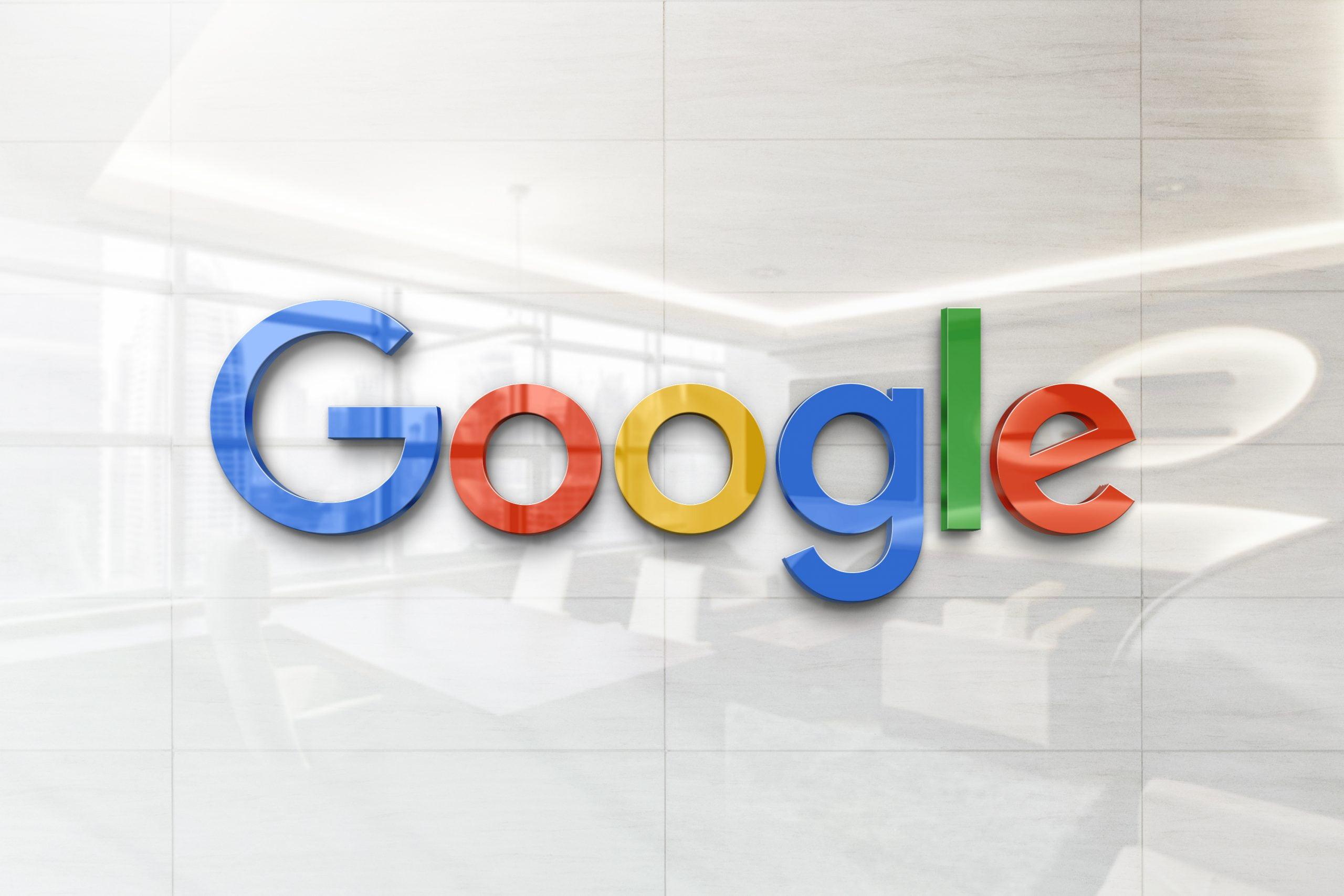 Glossy Wall Logo Mockup - Google