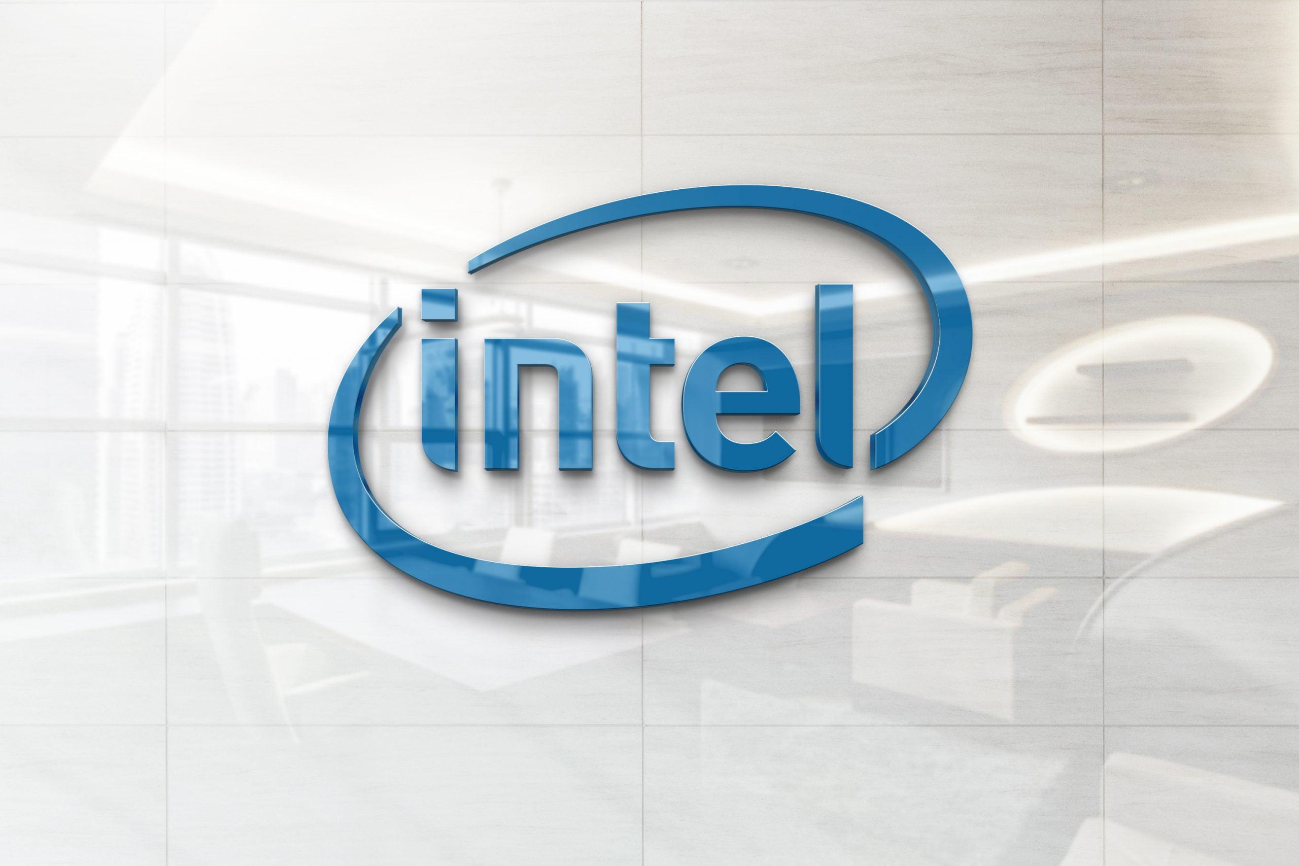 Glossy Wall Logo Mockup - Intel