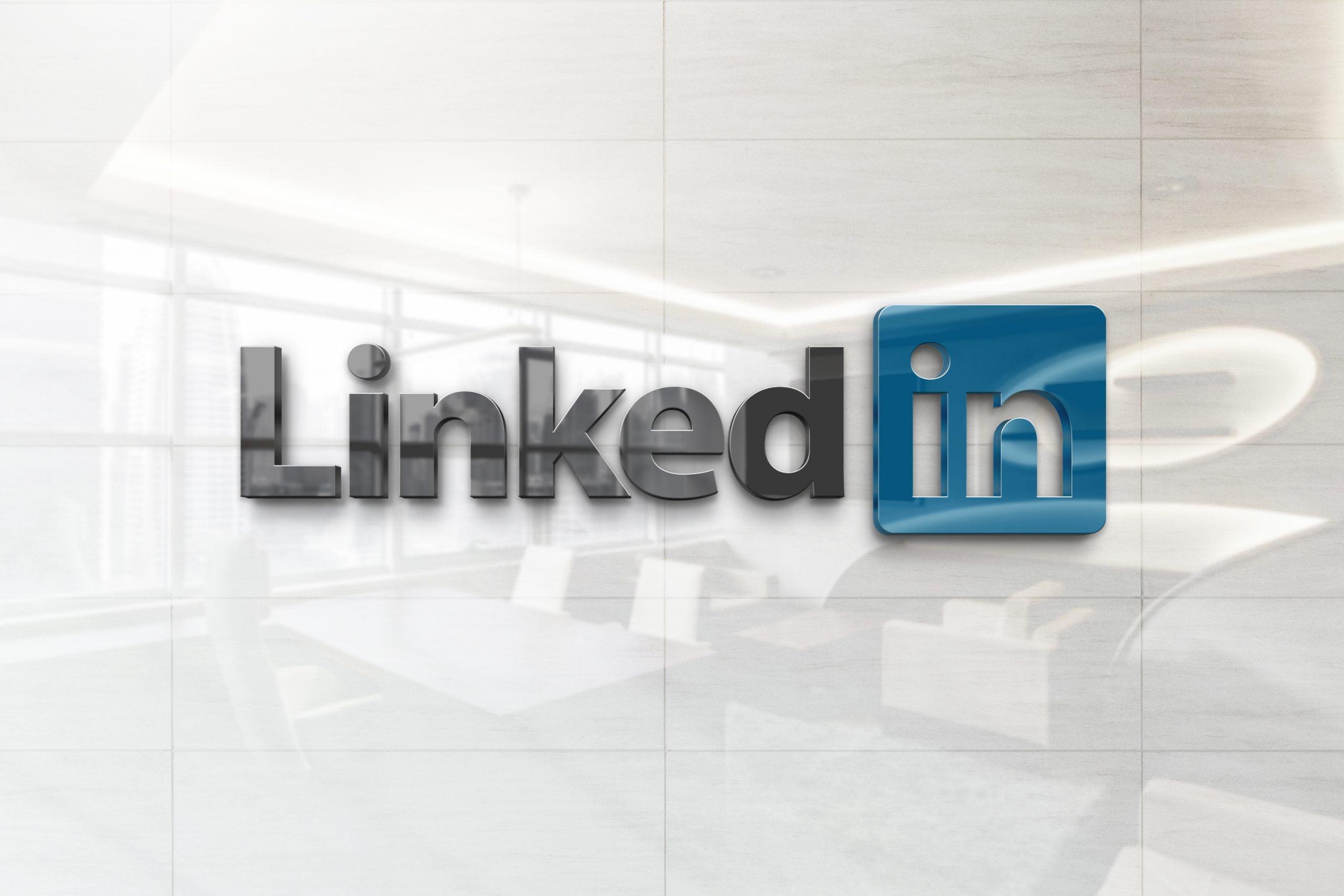 Glossy Wall Logo Mockup - Linkedin