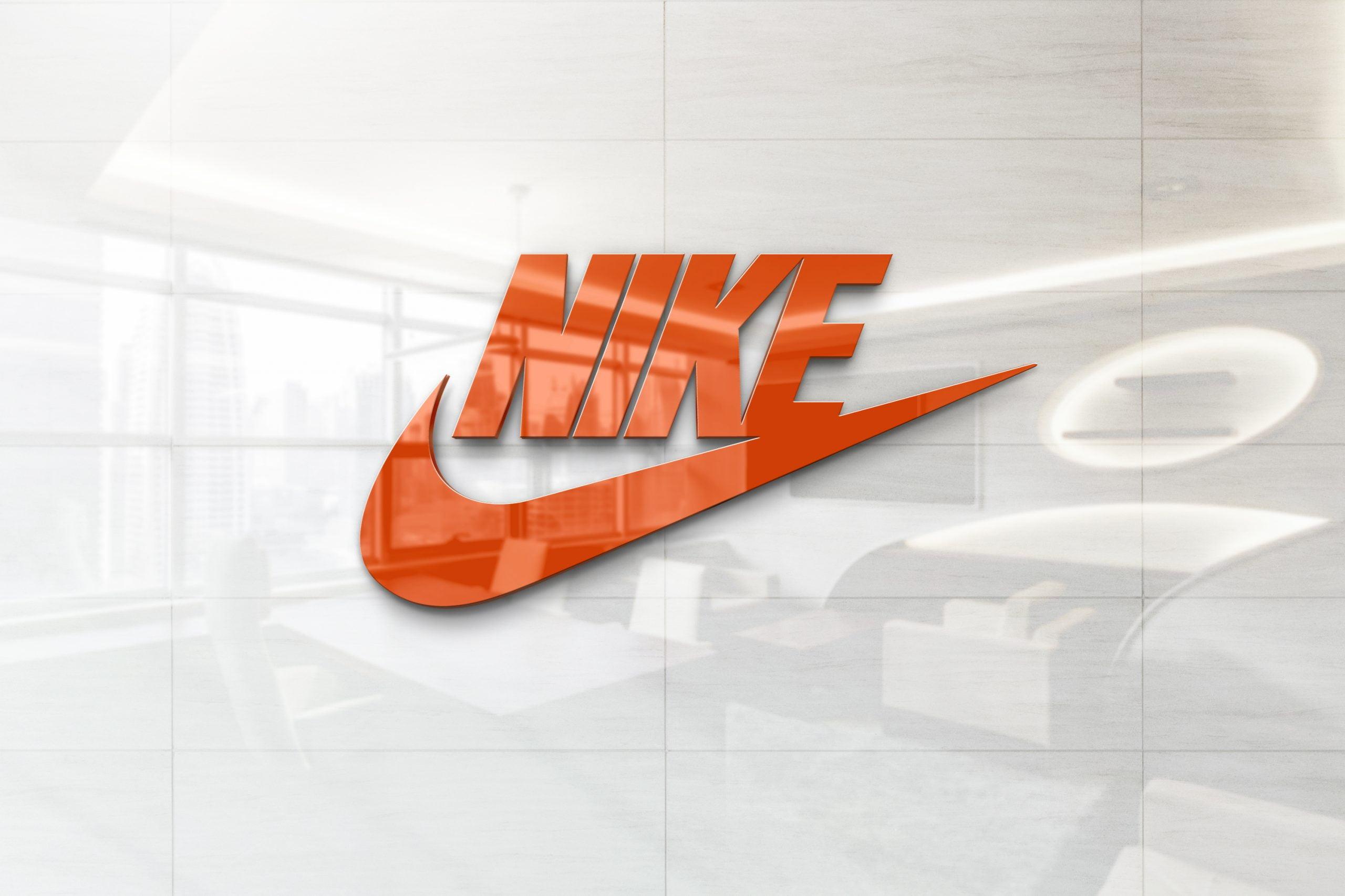 Glossy Wall Logo Mockup - Nike