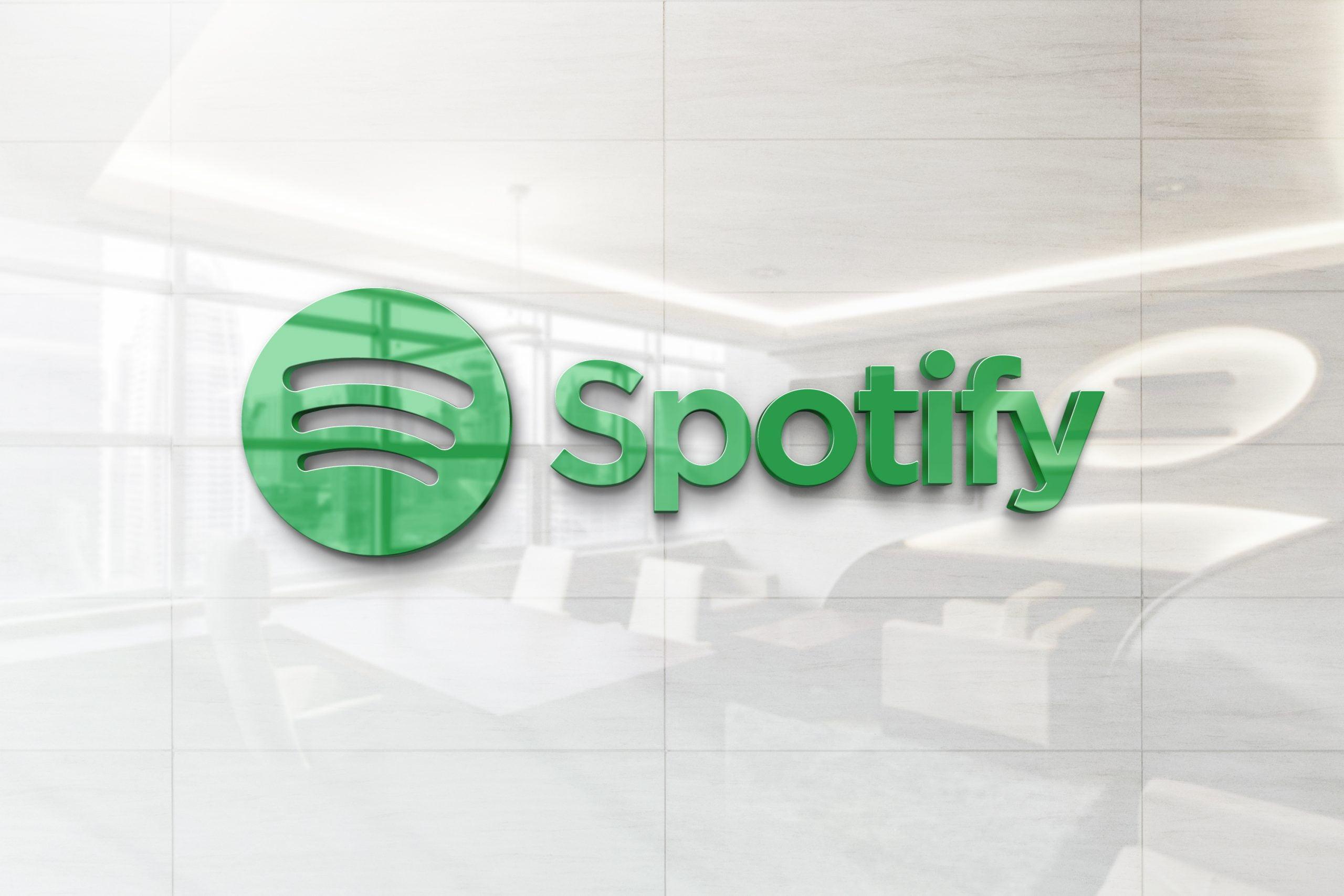Glossy Wall Logo Mockup - Spotify