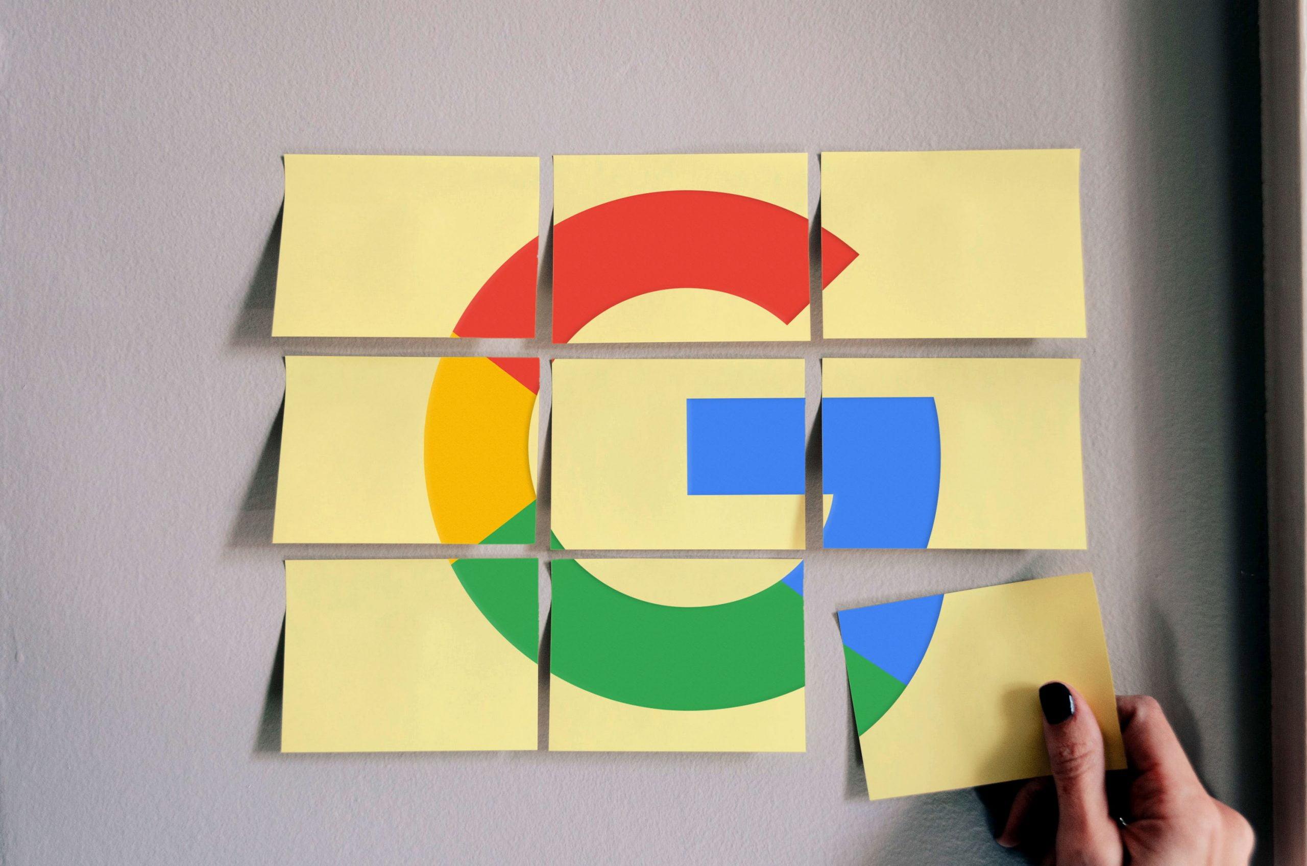 Google Free Sticky Notes Logo Mockup