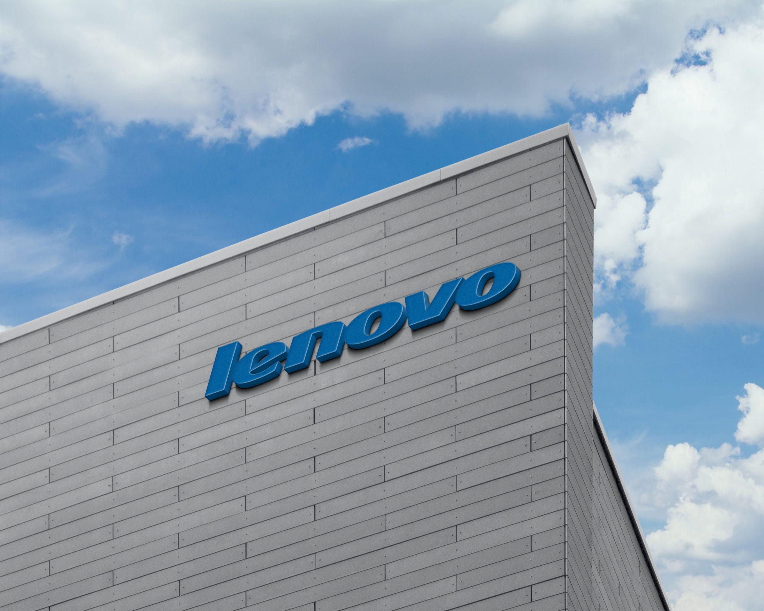 Lenovo Logo 3D Logo Sign on Building Facade Wall Mock-Up