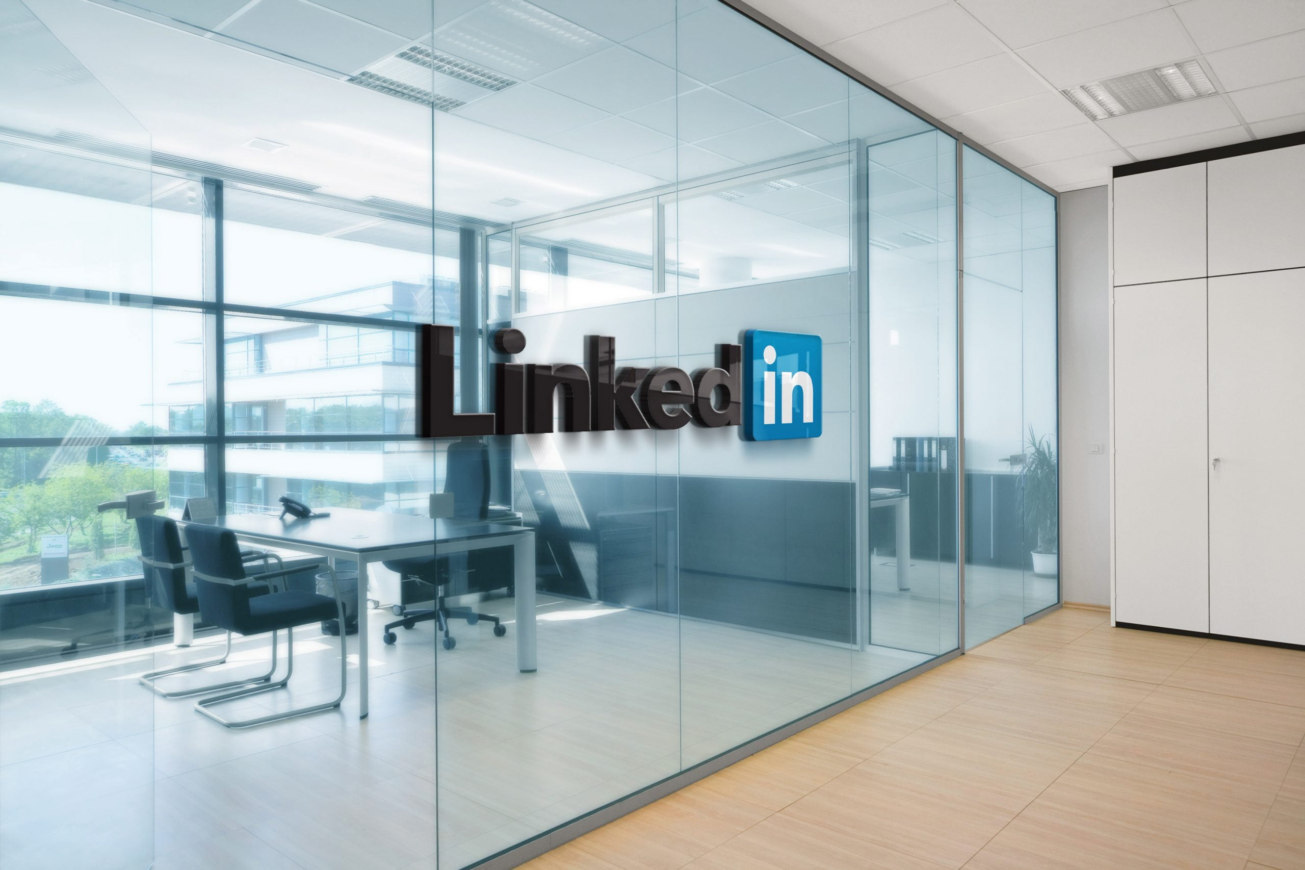 Linkedin Office Space Window Logo Mockup