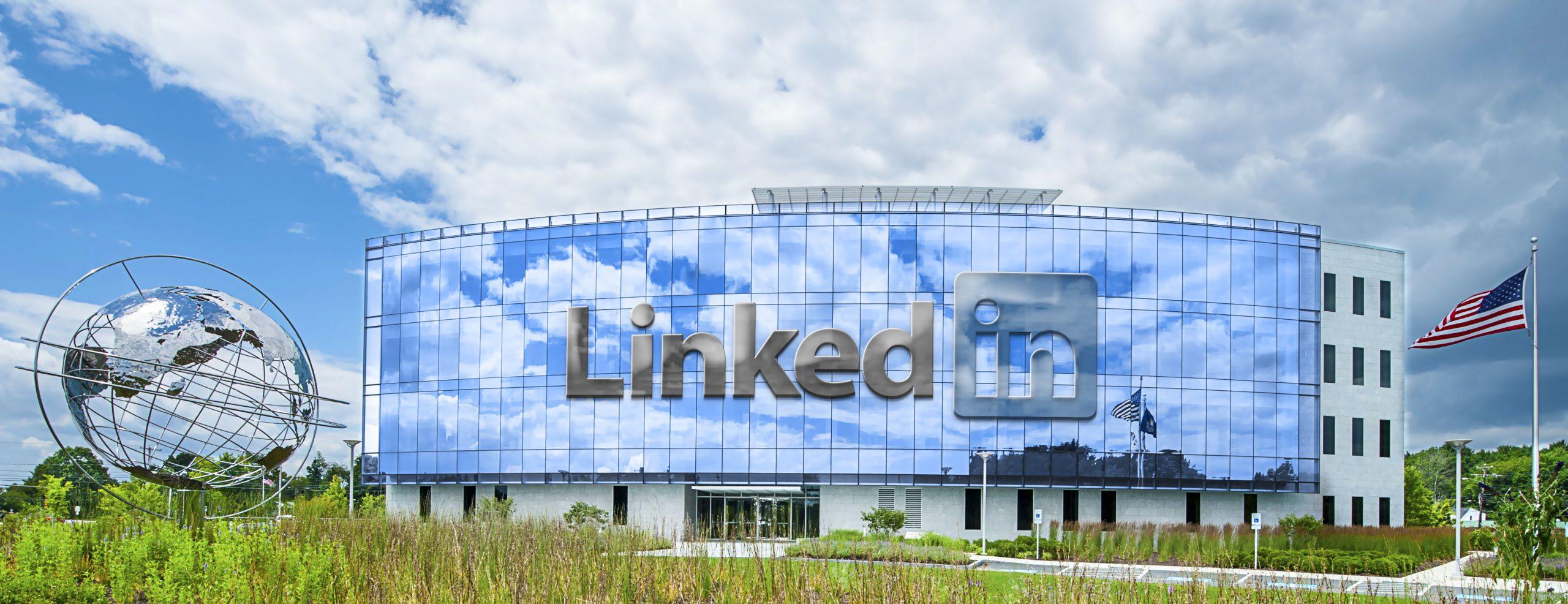 Linkedin Wide Realistic Building Logo Mockup