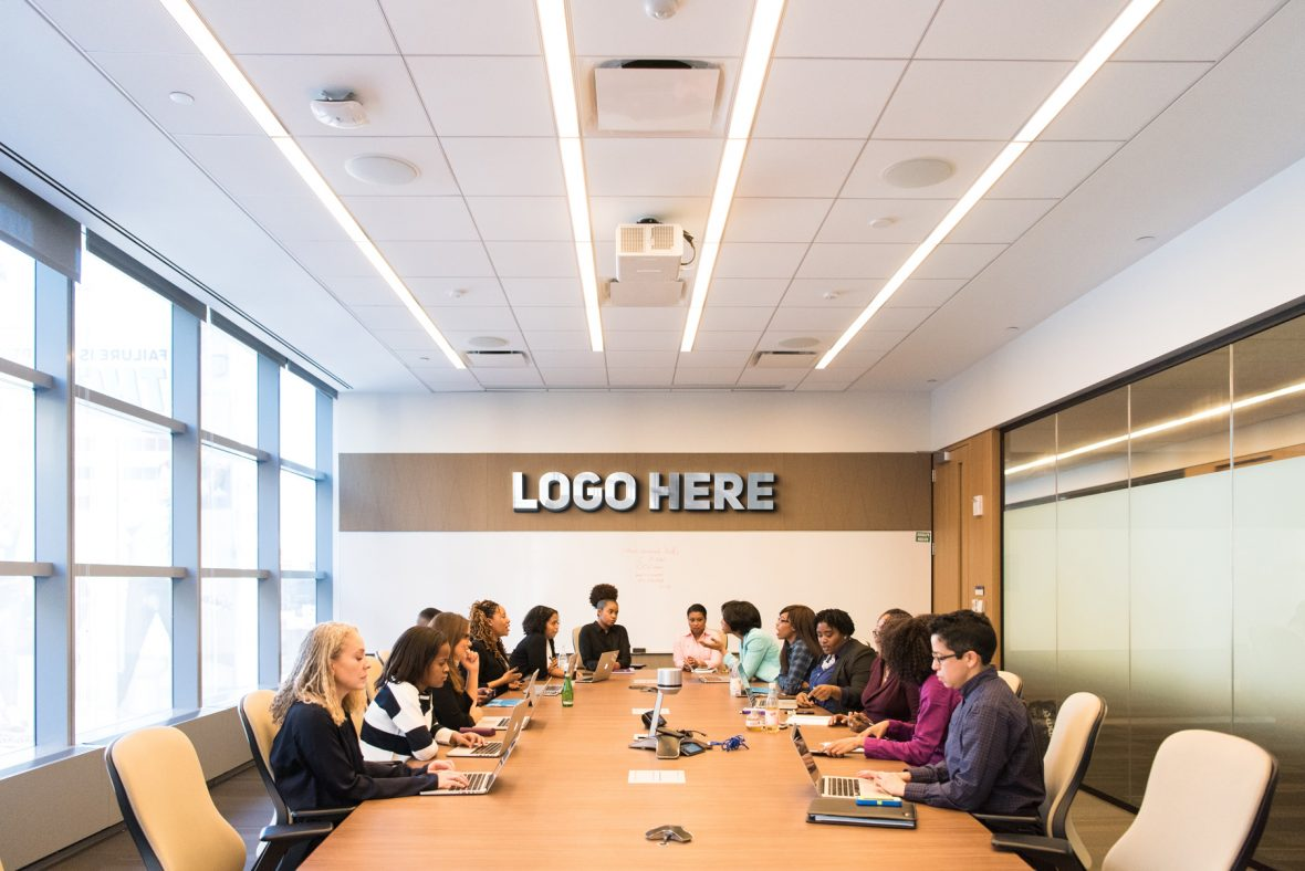 Logo Here Board Meeting Room Logo Mockup by GraphicsFamily