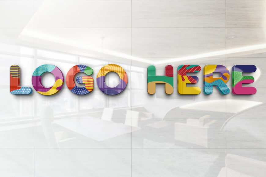 Realistic Glossy Wall Logo Mockup