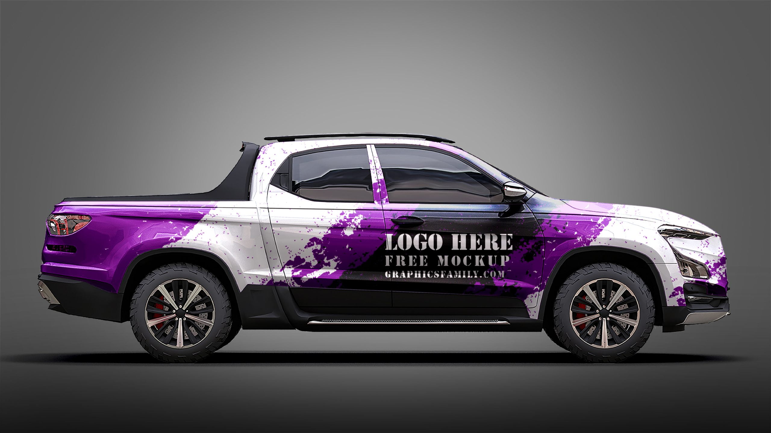 GraphicsFamily Free Pickup Truck Mockup