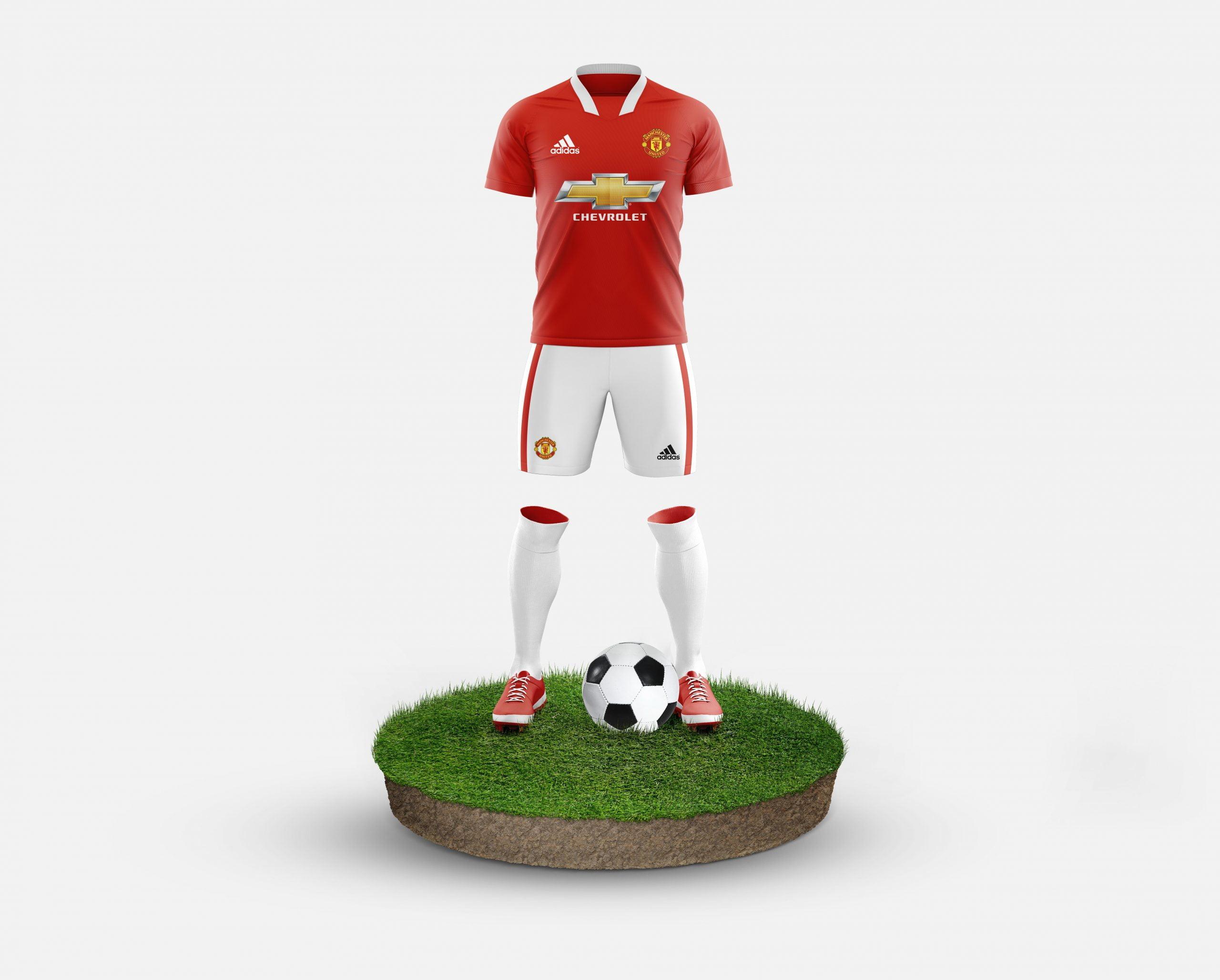 Manchester United Free Football Kit Mockup Template