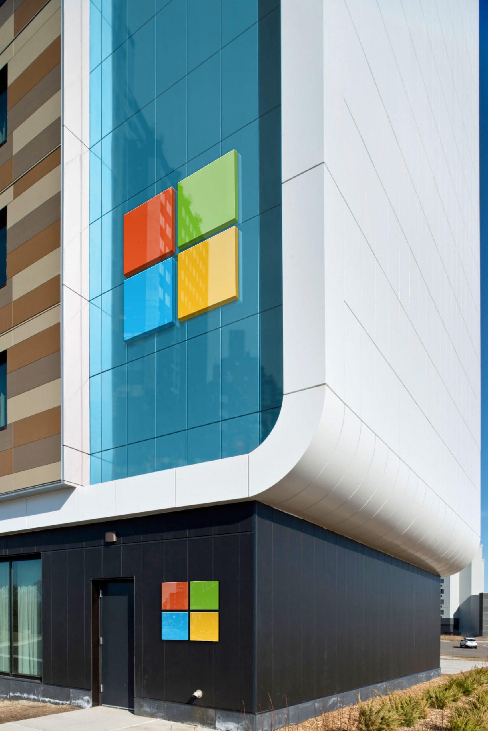 Microsoft Free Portrait Building Logo Mockup