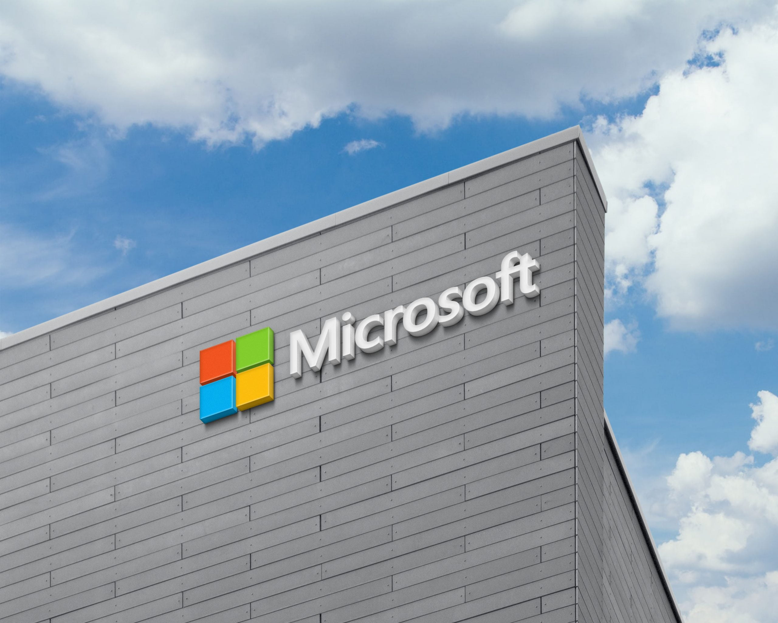 Microsoft Logo 3D Logo Sign on Building Facade Wall Mock-Up
