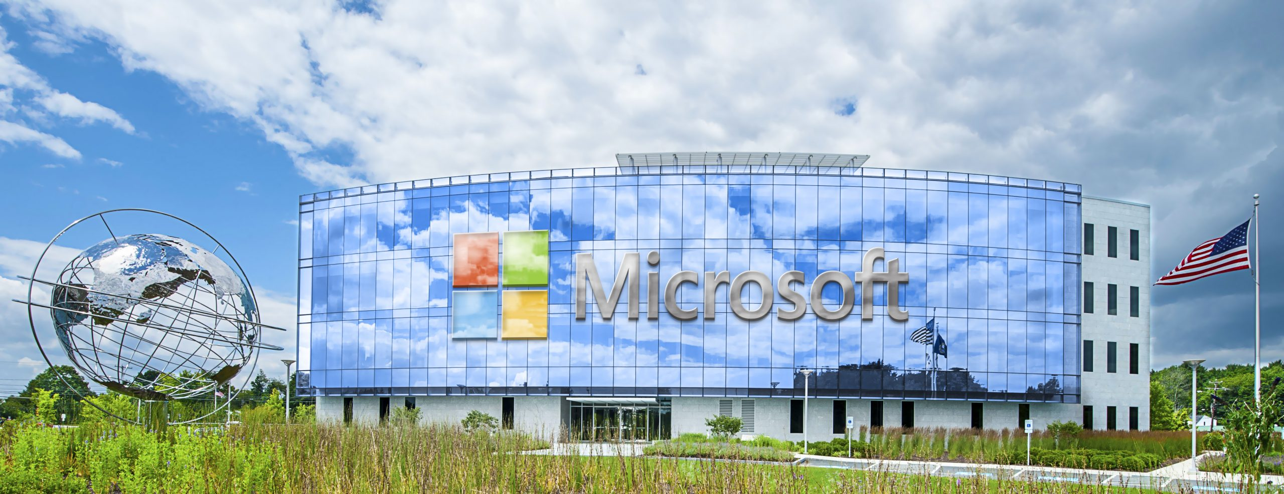 Microsoft Logo Wide Realistic Building Logo Mockup