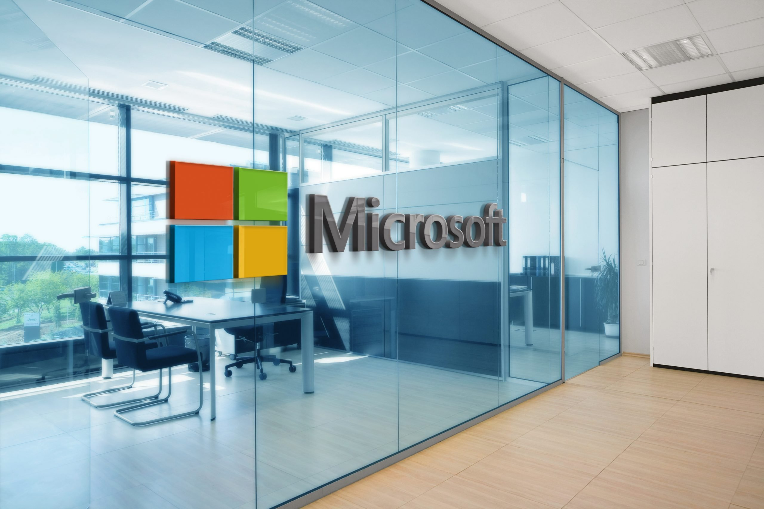 Microsoft Office Space Window Logo Mockup