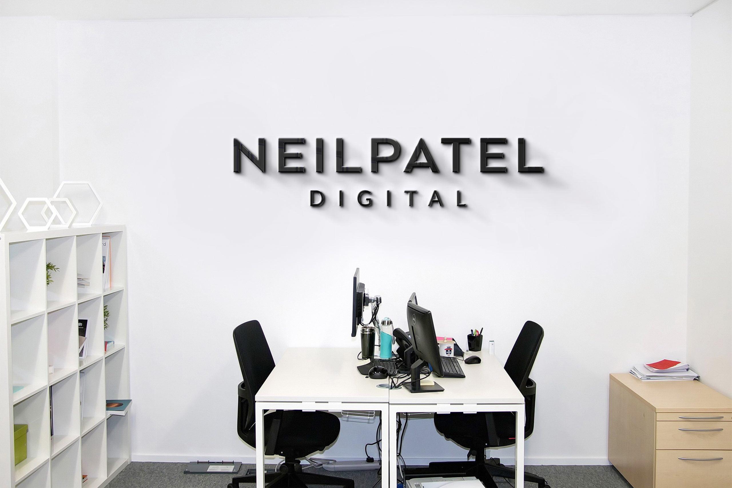 Neil Patel Logo Company Office Wall Logo Mock-up by GraphicsFamily