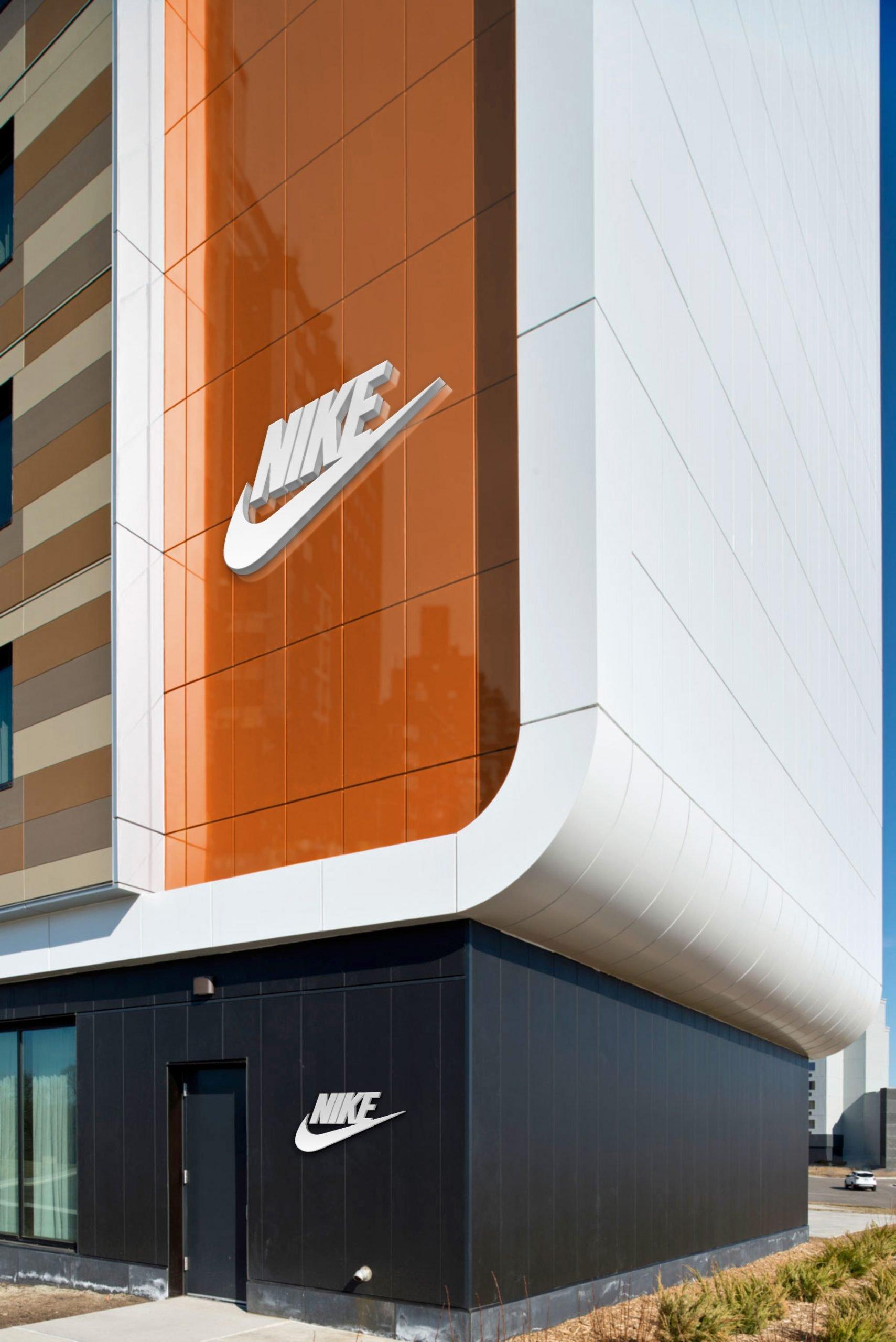 Nike Free Portrait Building Logo Mockup