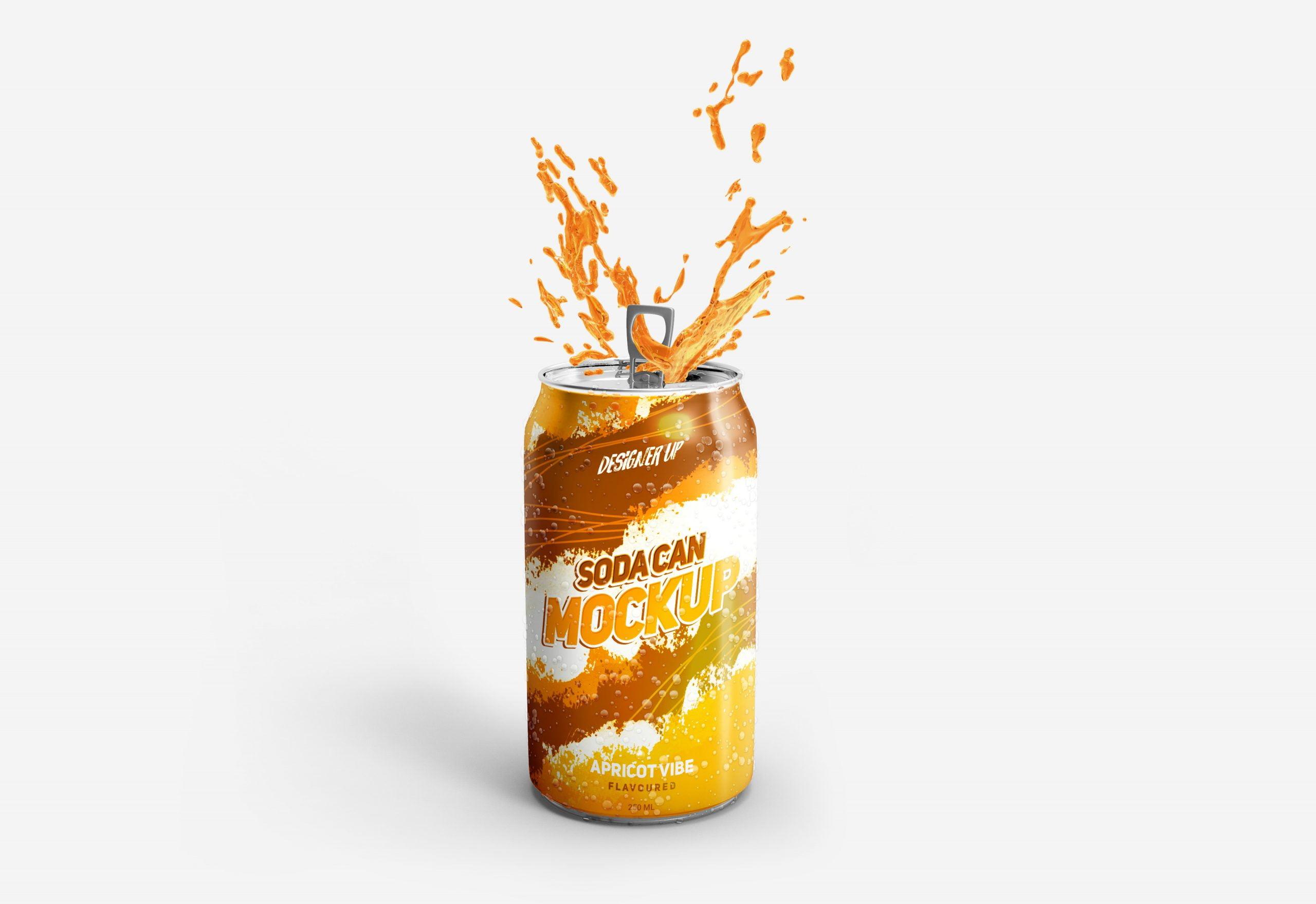 Orange Free Soda Can Mockup