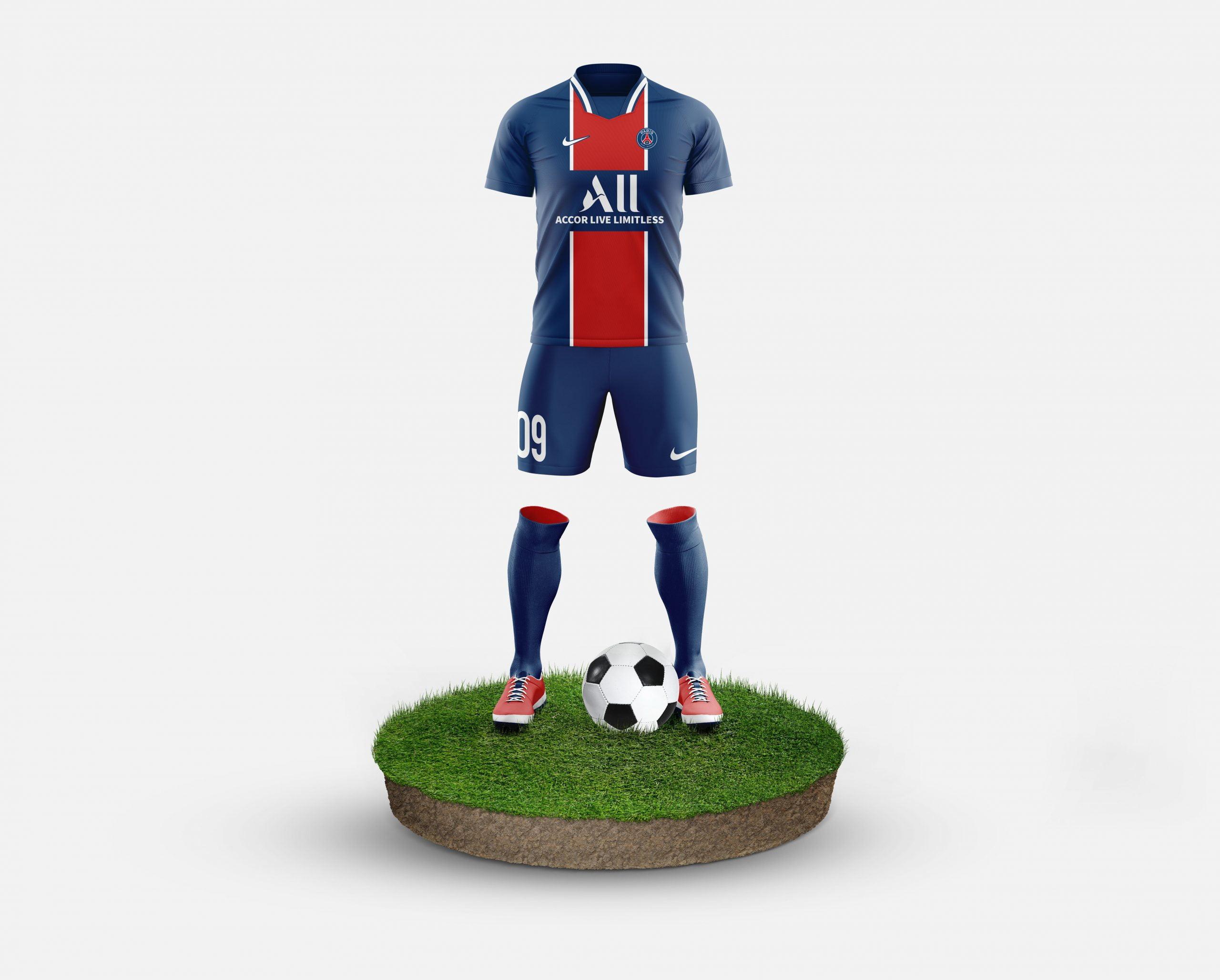 Paris Saint Germain Free Football Kit Mockup Template