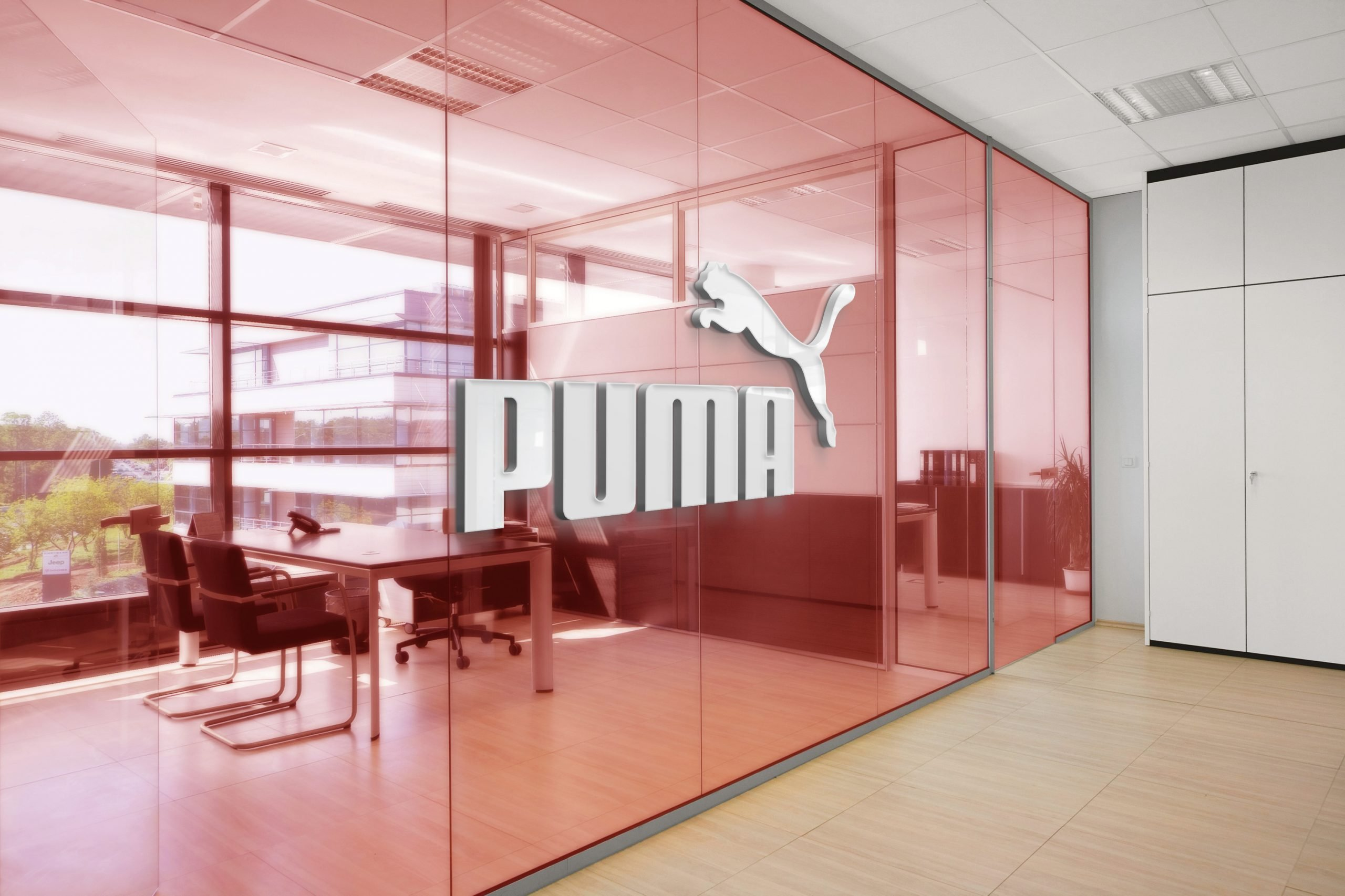Puma Office Space Window Logo Mockup