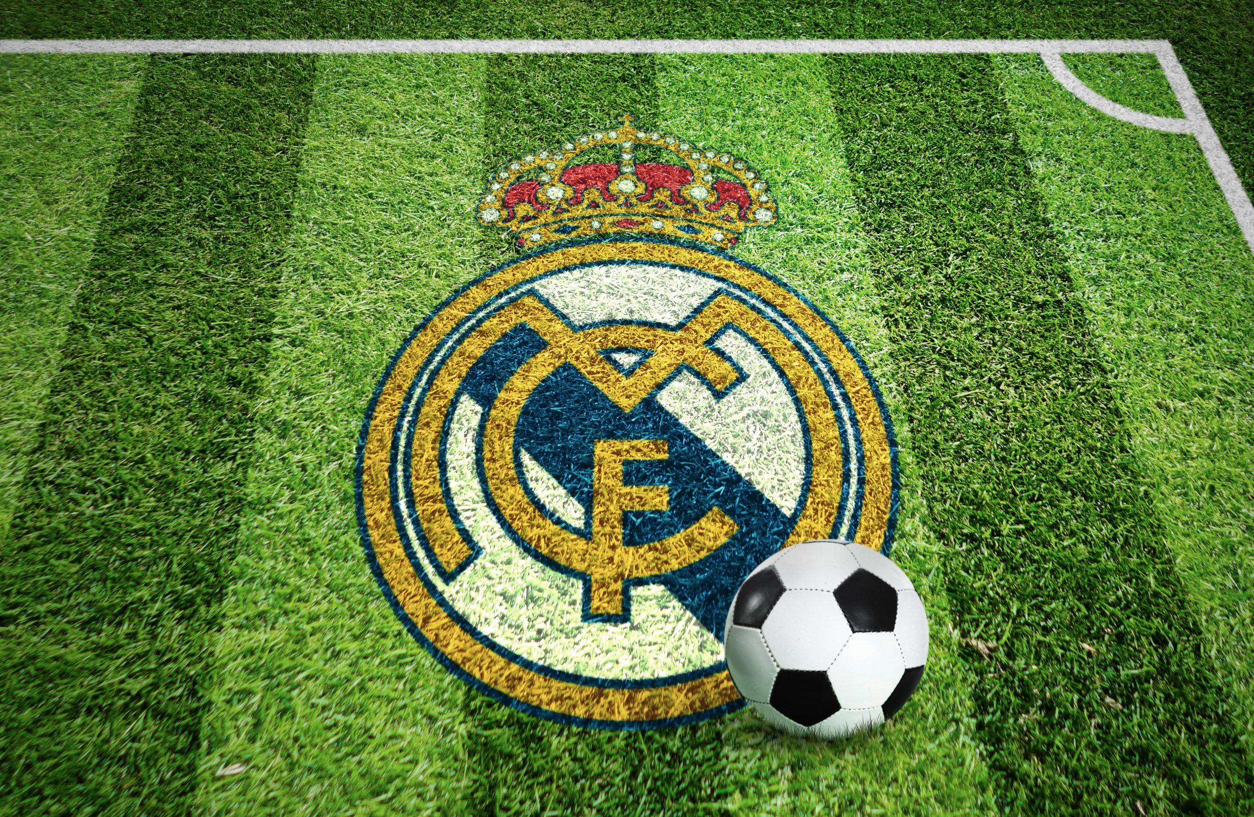 Real Madrid Stadium Grass Ground Logo Mockup