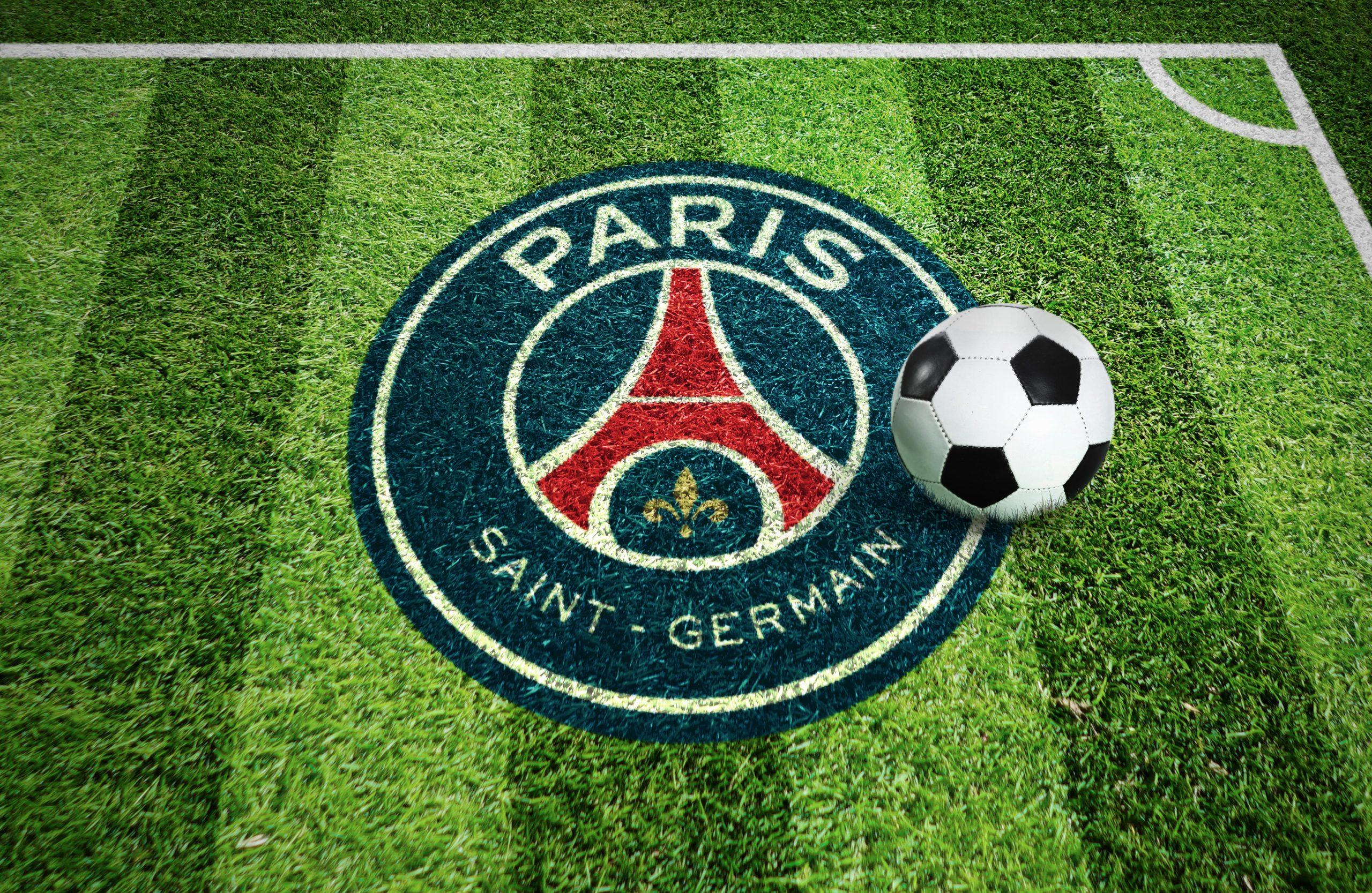 Saint Germain Stadium Grass Ground Logo Mockup